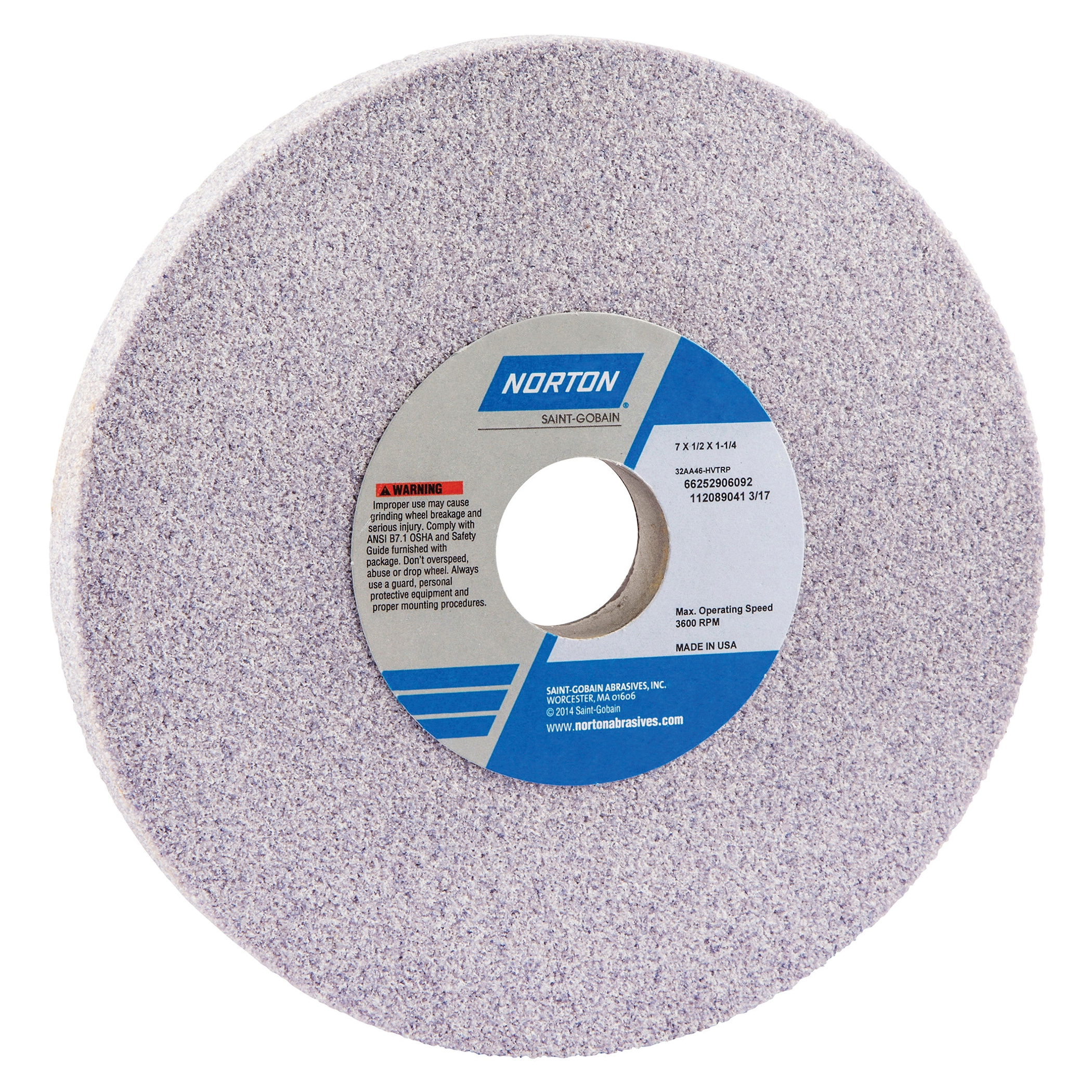 Norton® 66252906092 32AA Straight Toolroom Wheel, 7 in Dia x 1/2 in THK, 1-1/4 in Center Hole, 46 Grit, Aluminum Oxide Abrasive