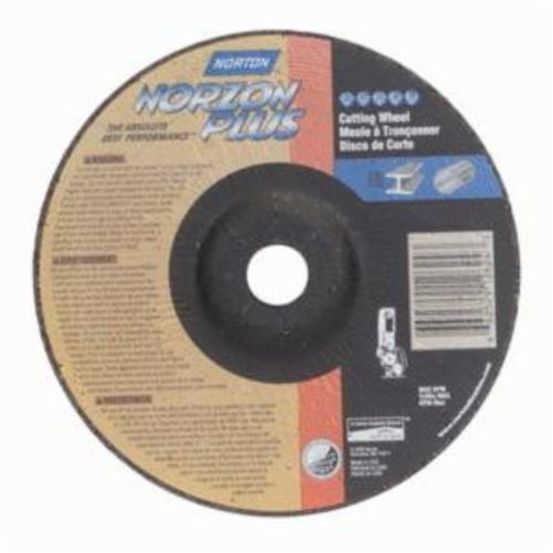 Norton® NorZon® Plus® 66252912624 DC7125NZP All Purpose Cut-Off Wheel With Quick-Change Hub, 7 in Dia x 1/8 in THK, 7/8 in Center Hole, 24 Grit, Ceramic Alumina/Zirconia Alumina Abrasive