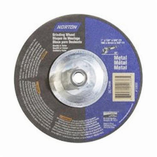 Norton® 66252912633 Depressed Center Wheel, 7 in Dia x 1/4 in THK, 24 Grit, Aluminum Oxide Abrasive