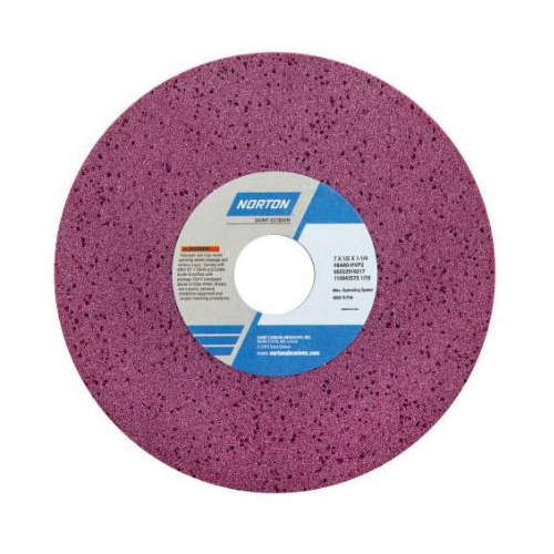 Norton® 66252916215 48A Straight Toolroom Wheel, 7 in Dia x 1/2 in THK, 1-1/4 in Center Hole, 46 Grit, Aluminum Oxide Abrasive