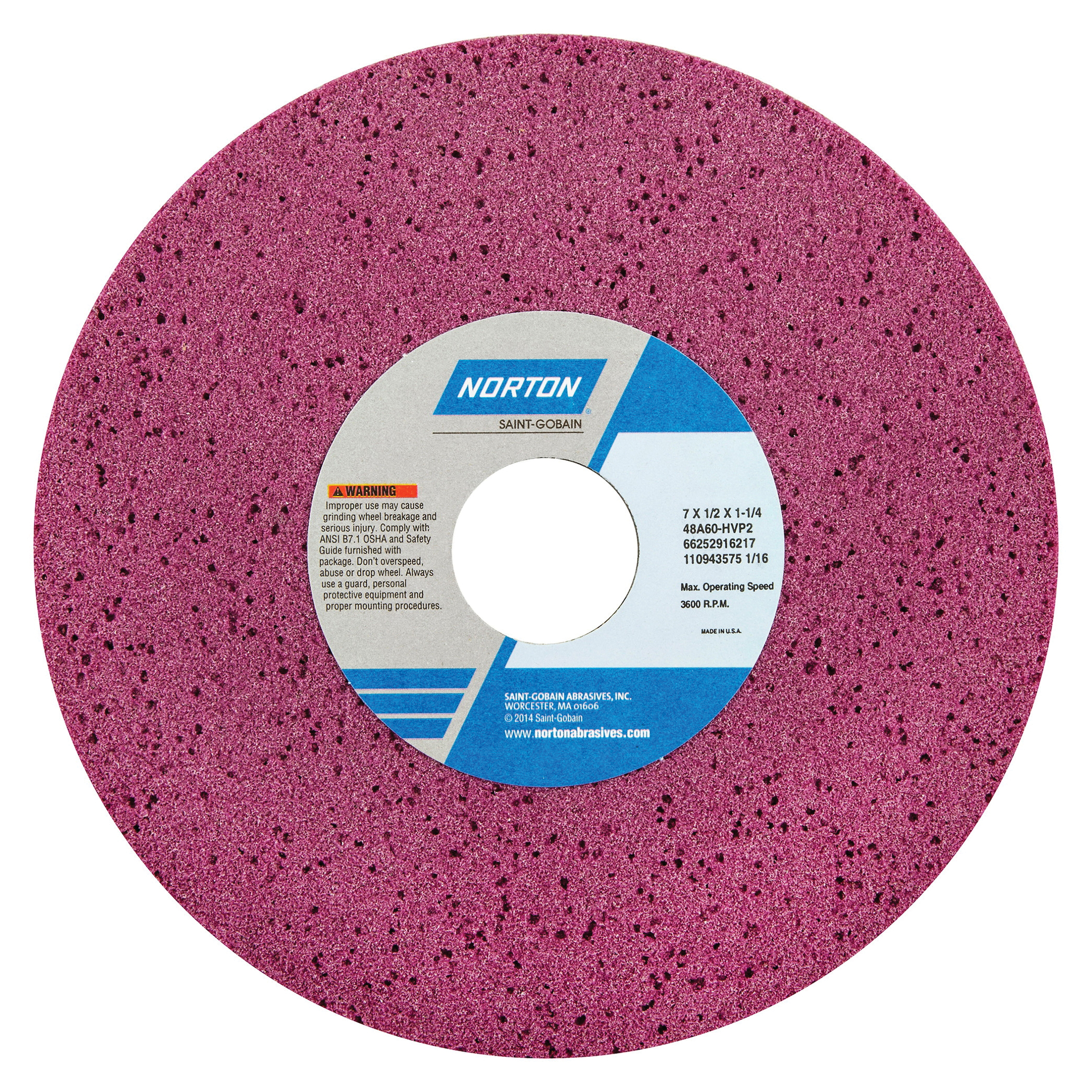 Norton® 66252916217 48A Straight Toolroom Wheel, 7 in Dia x 1/2 in THK, 1-1/4 in Center Hole, 60 Grit, Aluminum Oxide Abrasive