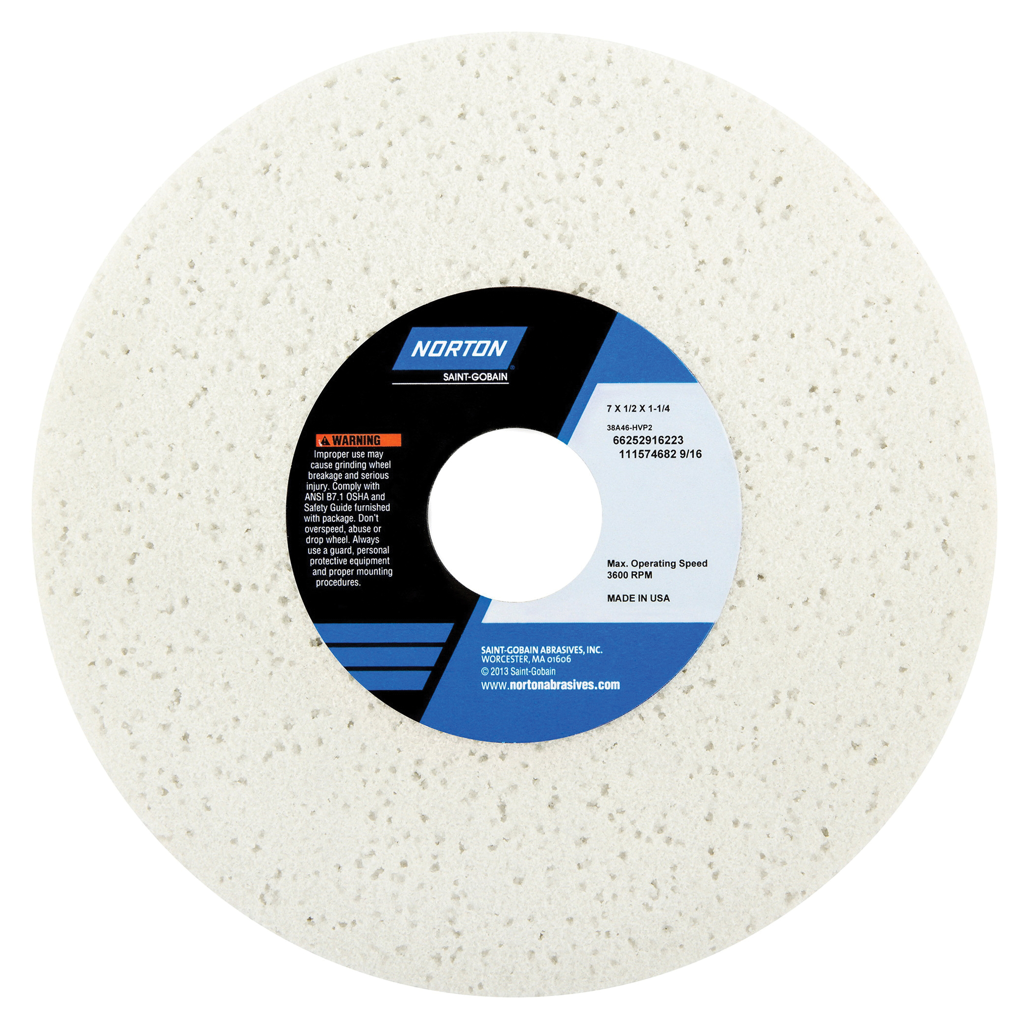 Norton® 66252916223 38A Straight Toolroom Wheel, 7 in Dia x 1/2 in THK, 1-1/4 in Center Hole, 46 Grit, Aluminum Oxide Abrasive