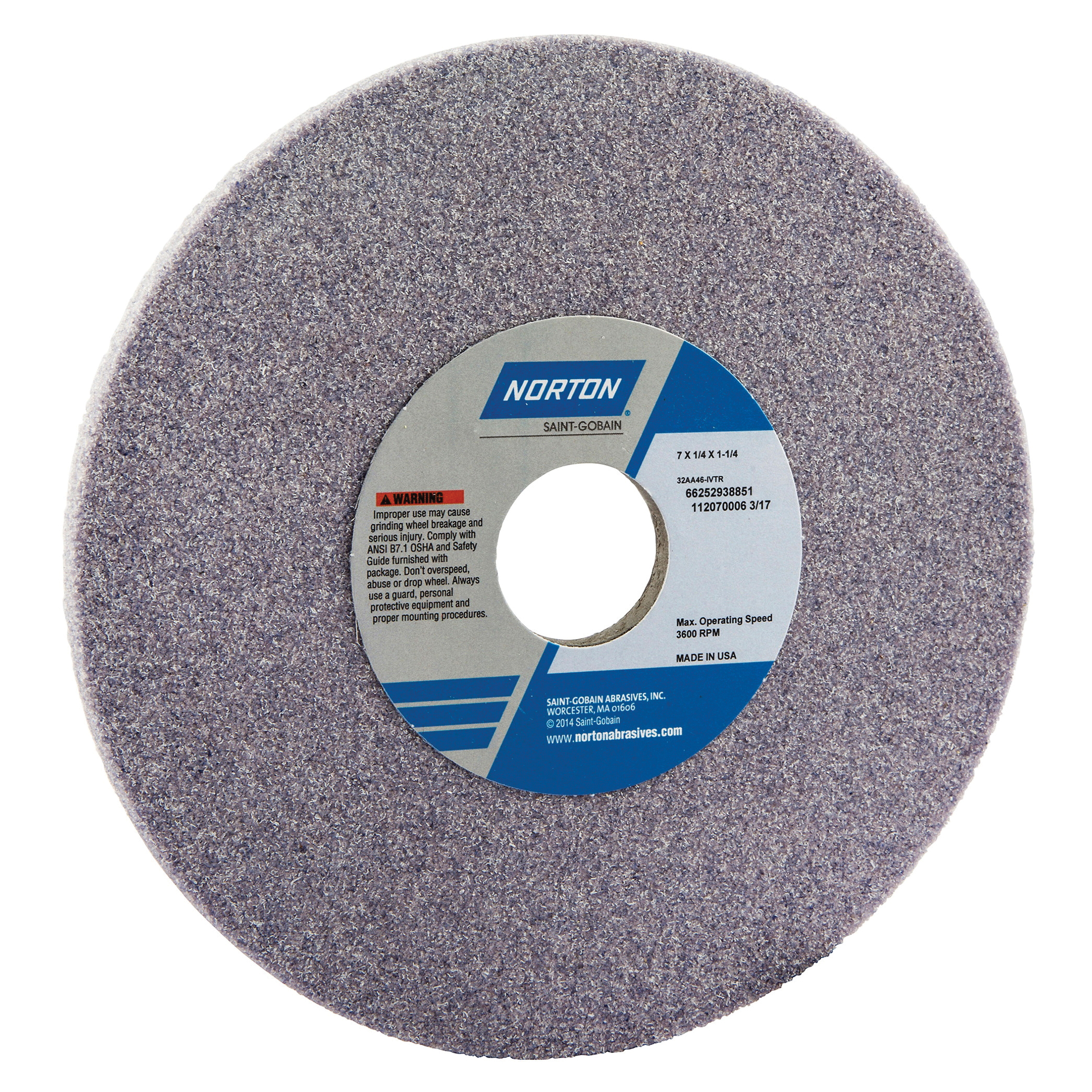 Norton® 66252938851 32AA Straight Toolroom Wheel, 7 in Dia x 1/4 in THK, 1-1/4 in Center Hole, 46 Grit, Aluminum Oxide Abrasive