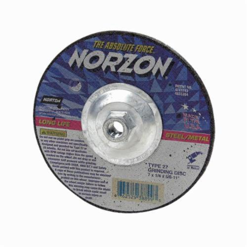 Norton® NorZon® Plus® 66252938855 Type 27/28 Depressed Center Cut-Off Wheel, 7 in Dia x 1/8 in THK, 24 Grit, Ceramic/Zirconia Alumina Abrasive