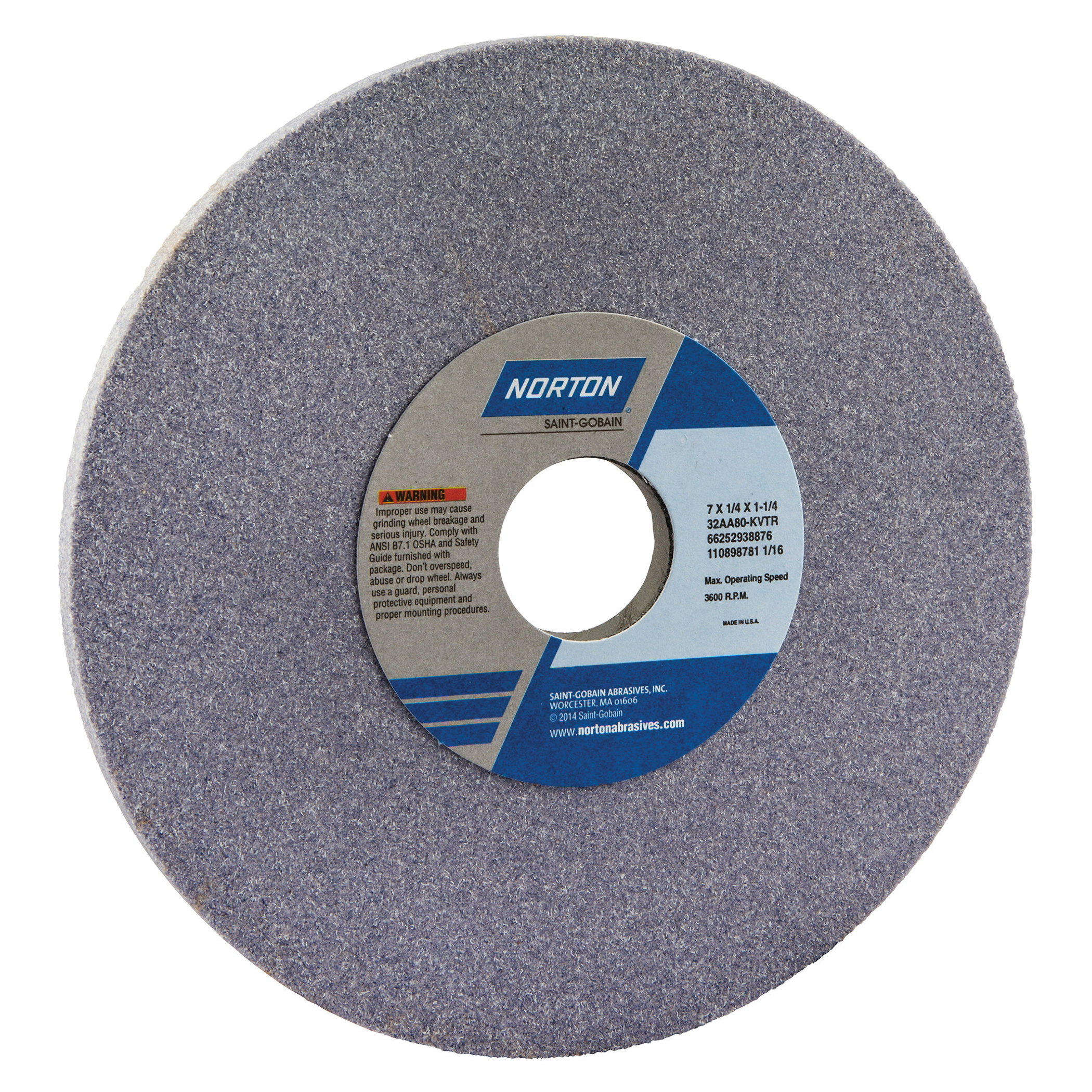 Norton® 66252938876 32AA Straight Toolroom Wheel, 7 in Dia x 1/4 in THK, 1-1/4 in Center Hole, 80 Grit, Aluminum Oxide Abrasive