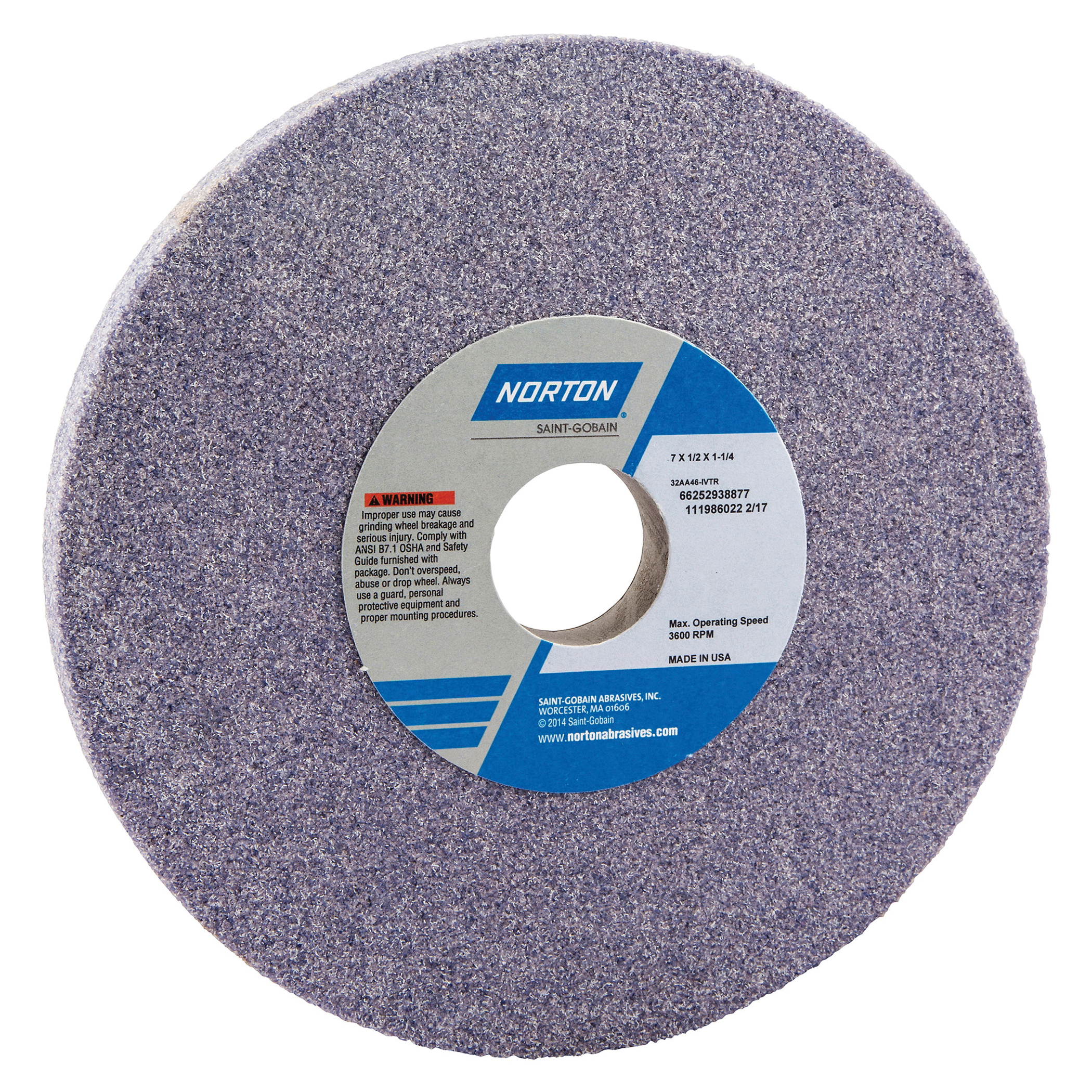 Norton® 66252938877 32AA Straight Toolroom Wheel, 7 in Dia x 1/2 in THK, 1-1/4 in Center Hole, 46 Grit, Aluminum Oxide Abrasive