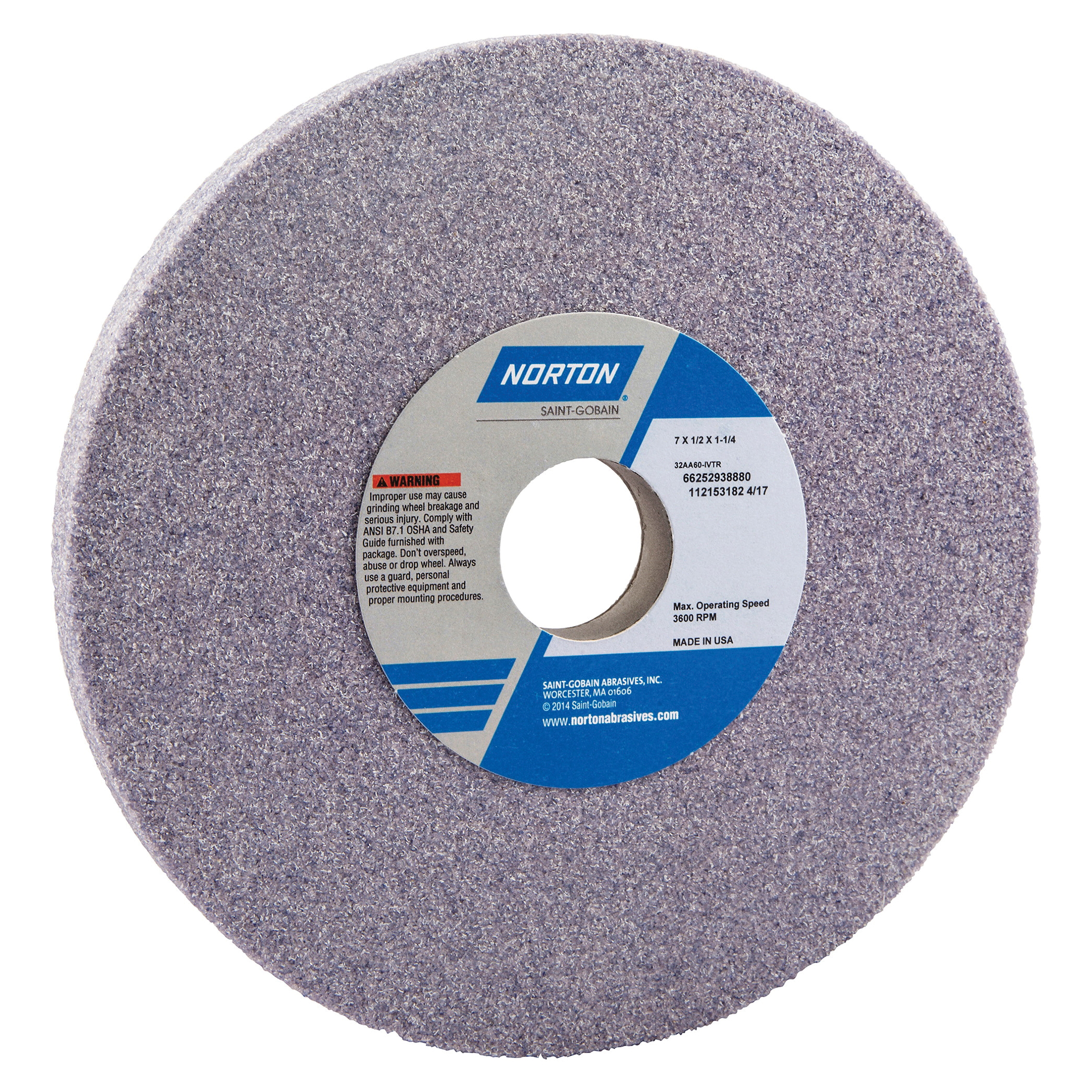 Norton® 66252938880 32AA Straight Toolroom Wheel, 7 in Dia x 1/2 in THK, 1-1/4 in Center Hole, 60 Grit, Aluminum Oxide Abrasive