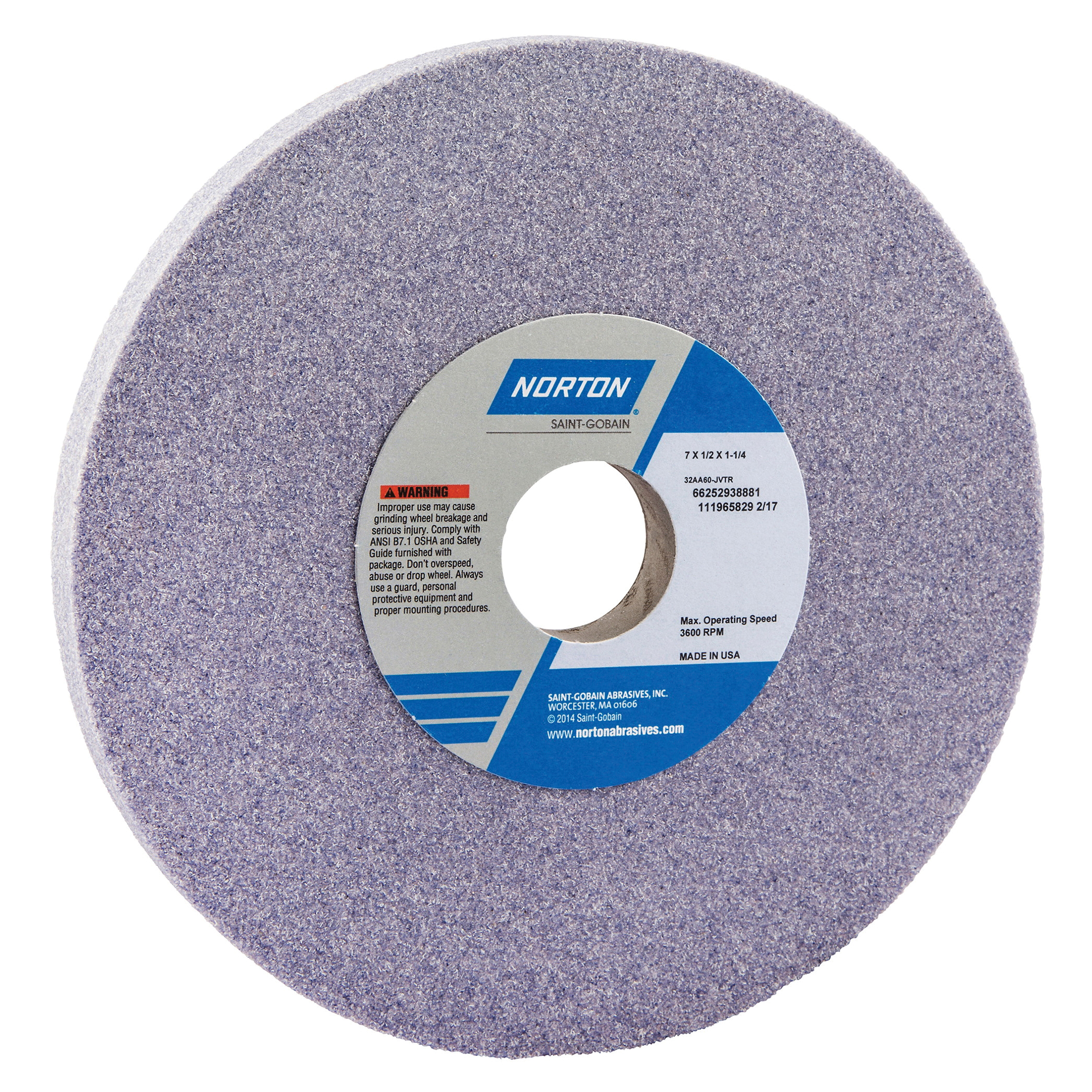 Norton® 66252938881 32AA Straight Toolroom Wheel, 7 in Dia x 1/2 in THK, 1-1/4 in Center Hole, 60 Grit, Aluminum Oxide Abrasive