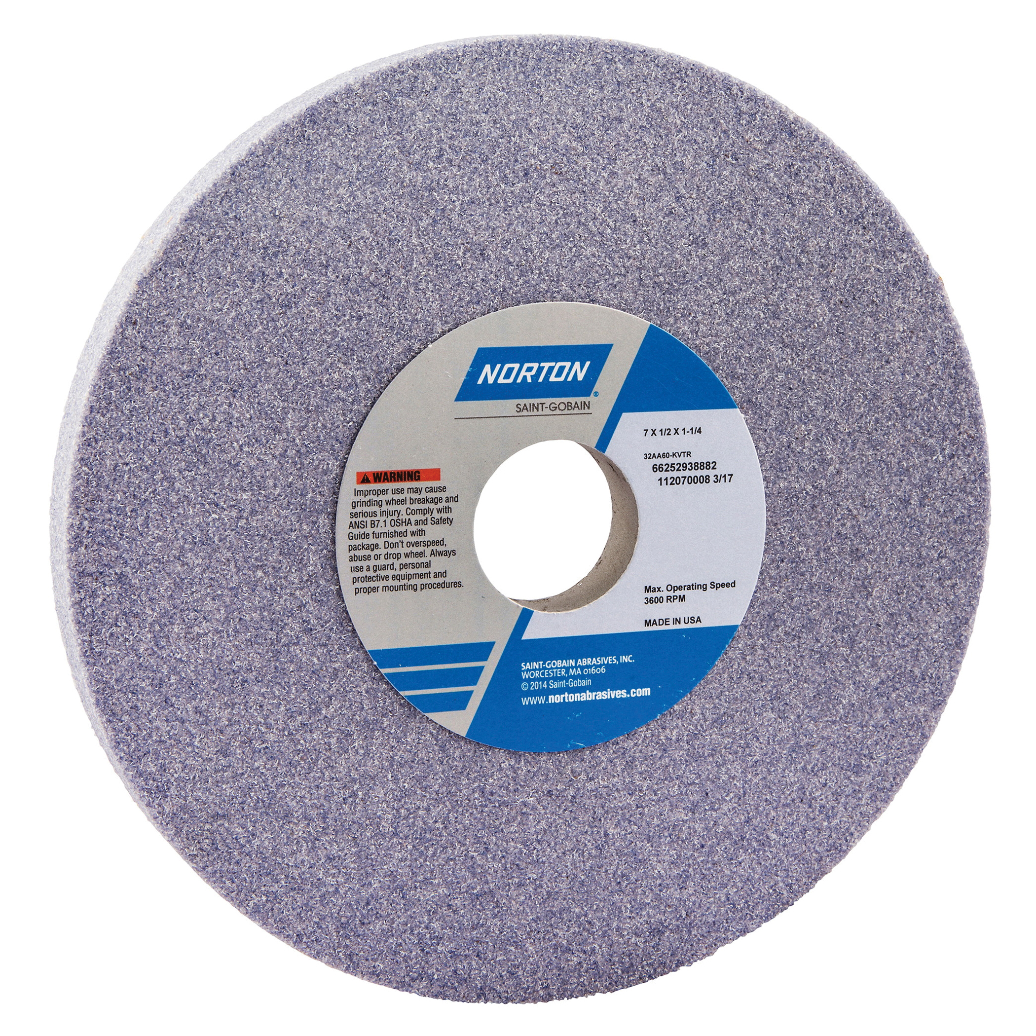 Norton® 66252938882 32AA Straight Toolroom Wheel, 7 in Dia x 1/2 in THK, 1-1/4 in Center Hole, 60 Grit, Aluminum Oxide Abrasive