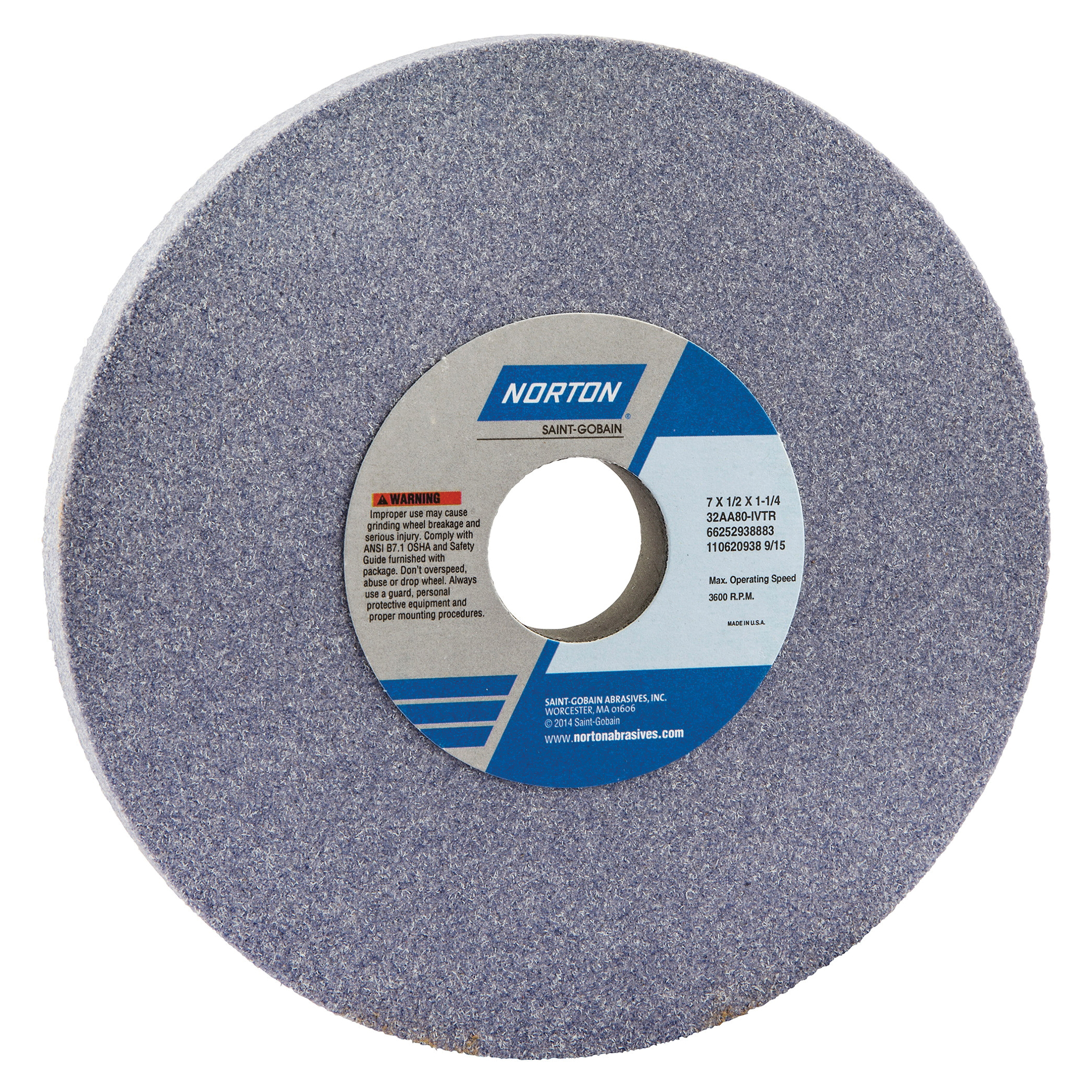 Norton® 66252938883 32AA Straight Toolroom Wheel, 7 in Dia x 1/2 in THK, 1-1/4 in Center Hole, 80 Grit, Aluminum Oxide Abrasive