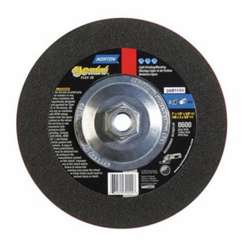 Norton® Gemini® 66252939024 Depressed Center Wheel, 7 in Dia x 1/8 in THK, 36 Grit, Aluminum Oxide Abrasive