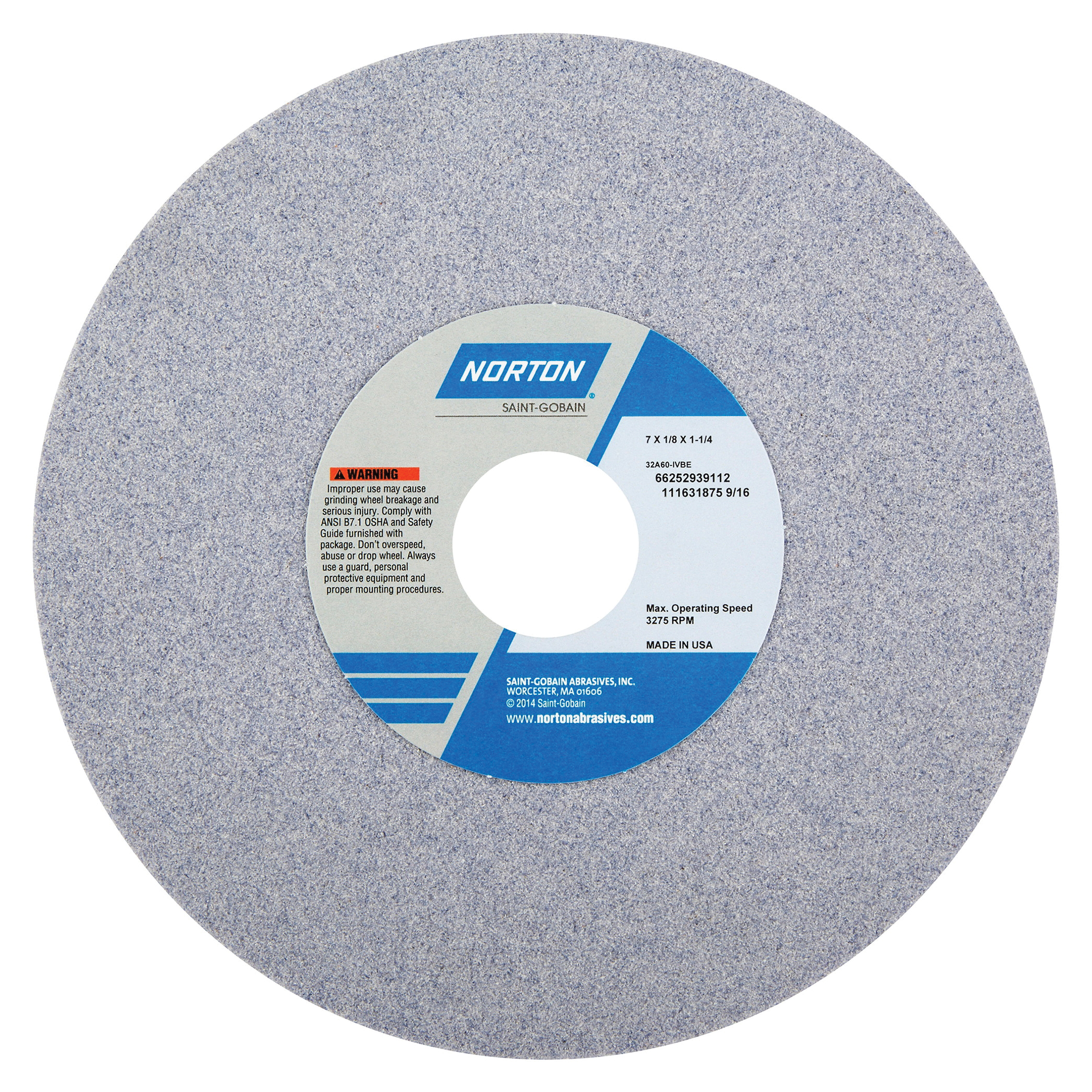 Norton® 66252939112 32A Straight Toolroom Wheel, 7 in Dia x 1/8 in THK, 1-1/4 in Center Hole, 60 Grit, Aluminum Oxide Abrasive