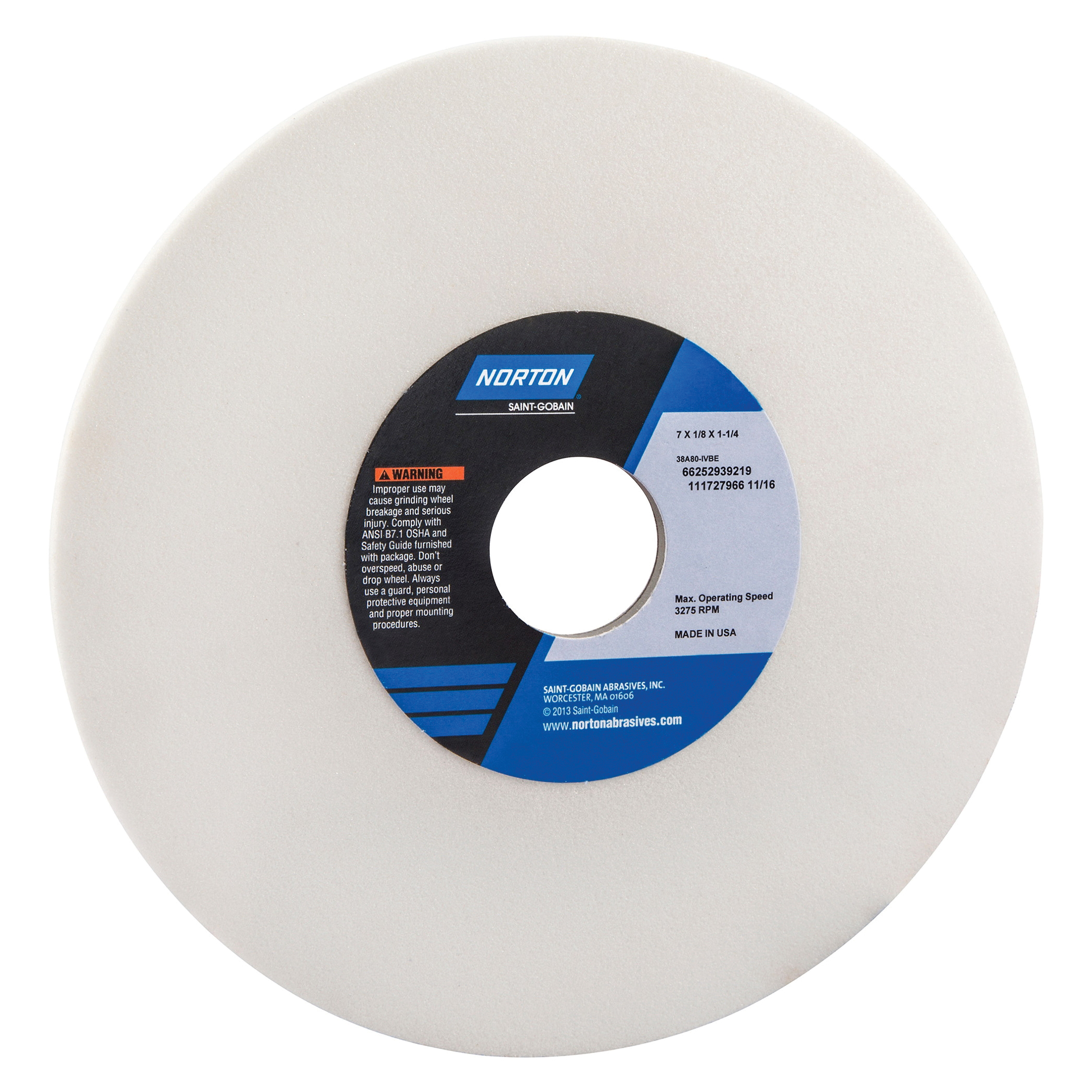 Norton® 66252939219 38A Straight Toolroom Wheel, 7 in Dia x 1/8 in THK, 1-1/4 in Center Hole, 80 Grit, Aluminum Oxide Abrasive