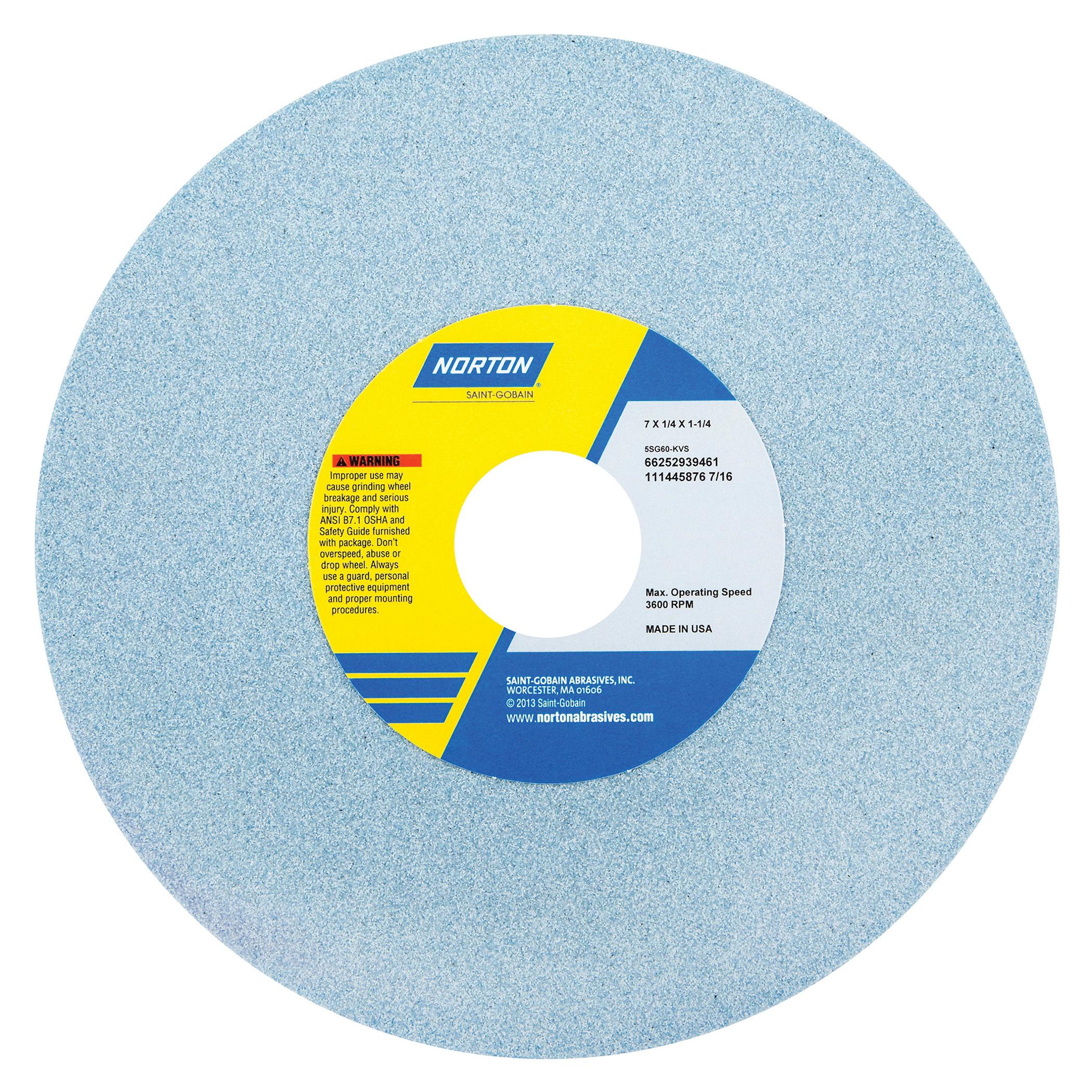 Norton® 66252939462 5SG Straight Toolroom Wheel, 7 in Dia x 1/4 in THK, 1-1/4 in Center Hole, 80 Grit, Ceramic Alumina/Friable Aluminum Oxide Abrasive