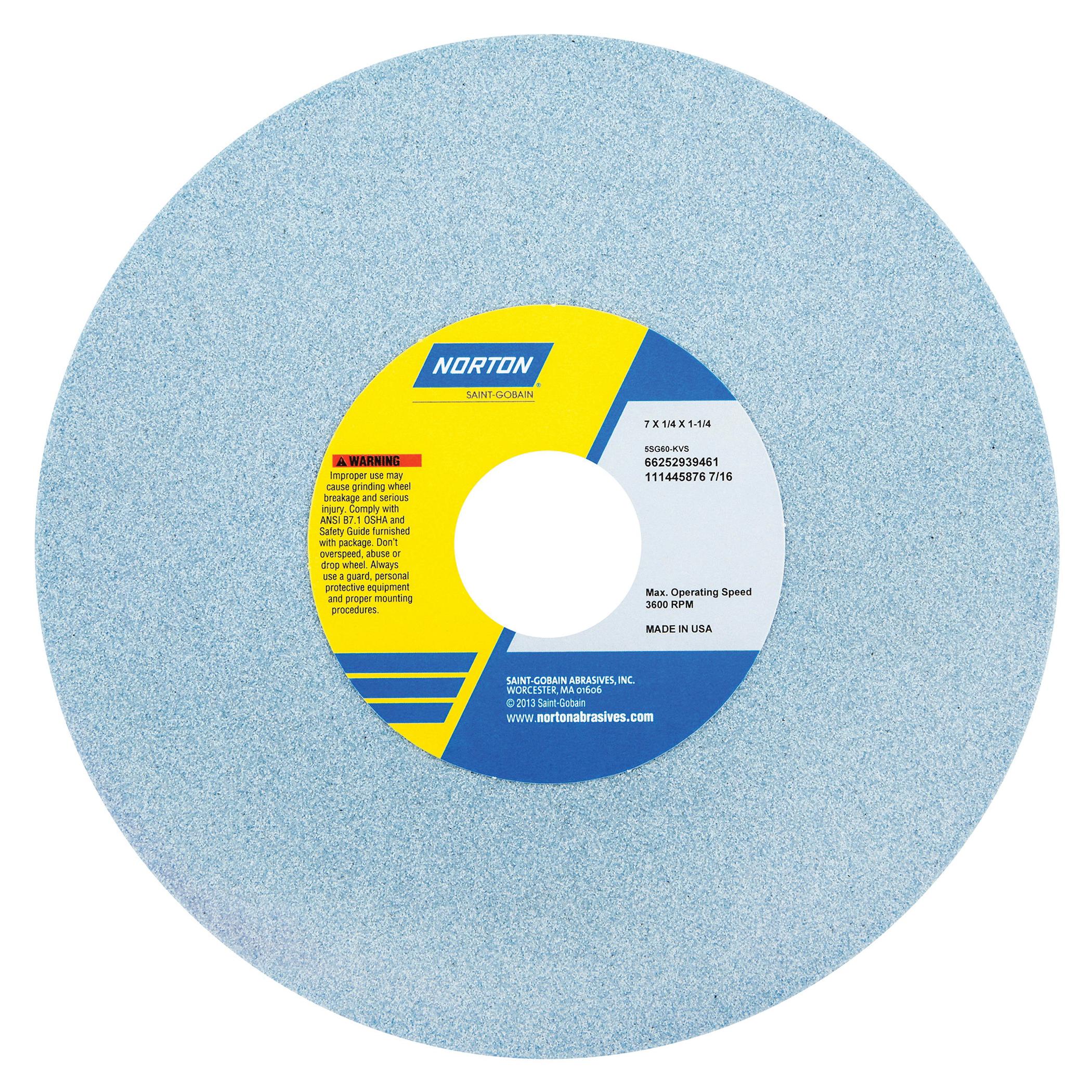 Norton® 66252939468 5SG Straight Toolroom Wheel, 7 in Dia x 1/4 in THK, 1-1/4 in Center Hole, 100 Grit, Ceramic Alumina/Friable Aluminum Oxide Abrasive