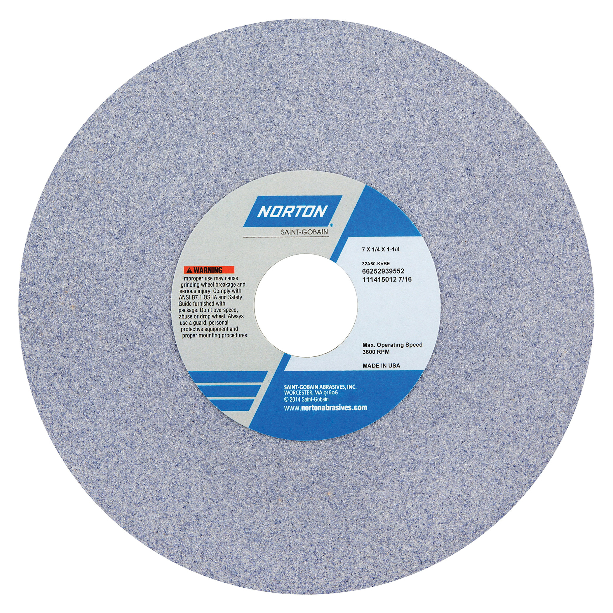 Norton® 66252939552 32A Straight Toolroom Wheel, 7 in Dia x 1/4 in THK, 1-1/4 in Center Hole, 60 Grit, Aluminum Oxide Abrasive