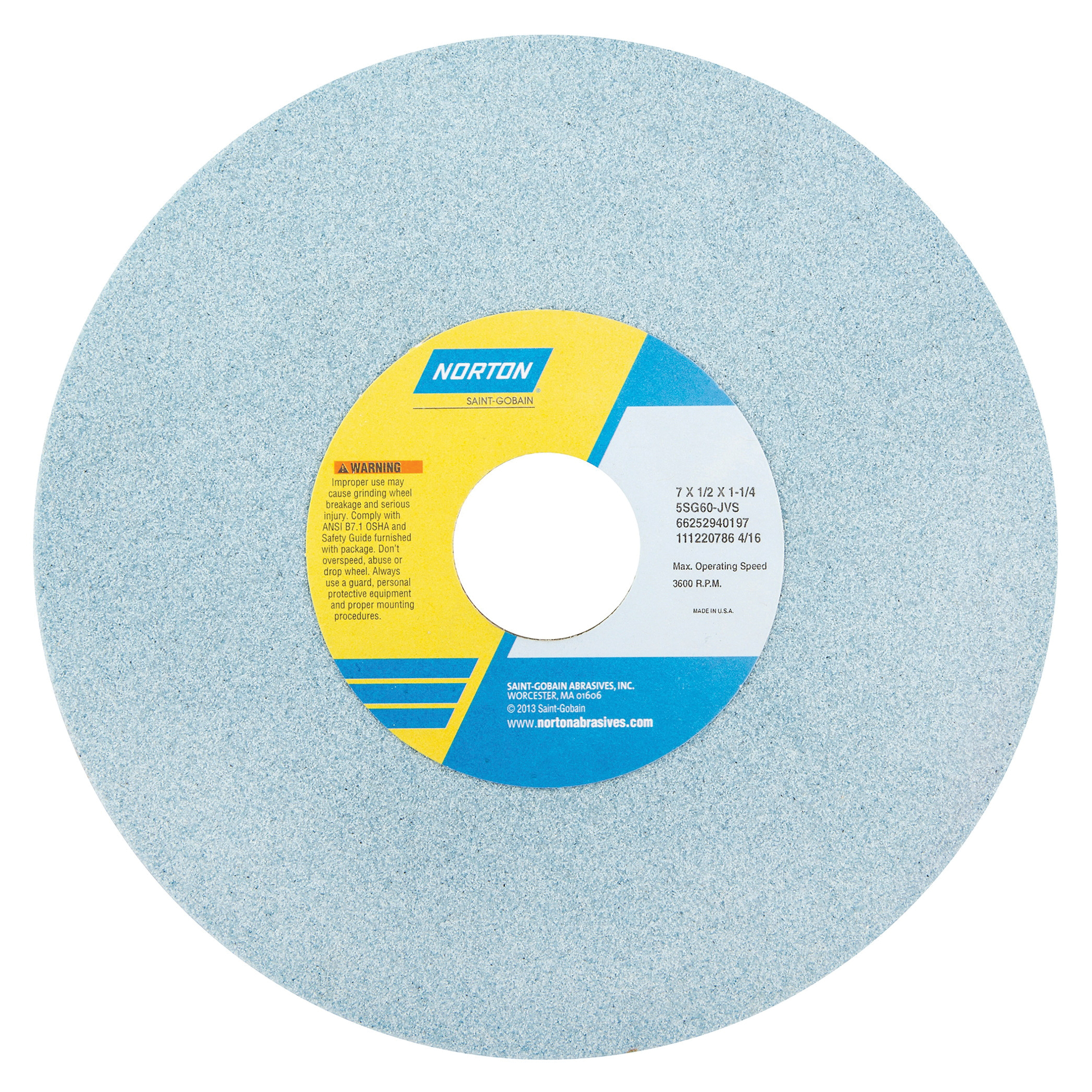 Norton® 66252940204 5SG Straight Toolroom Wheel, 7 in Dia x 1/2 in THK, 1-1/4 in Center Hole, 100 Grit, Ceramic Alumina/Friable Aluminum Oxide Abrasive