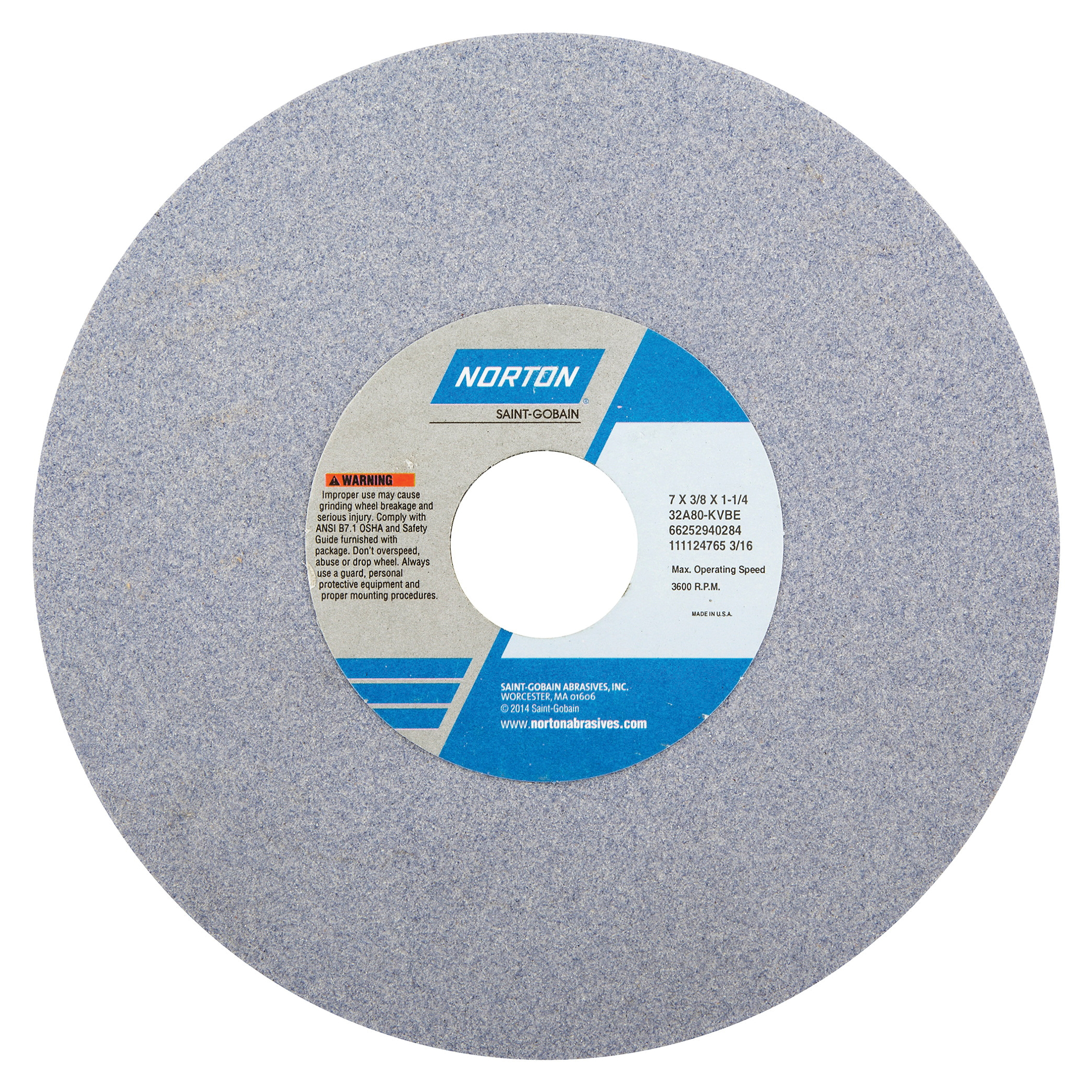 Norton® 66252940276 32A Straight Toolroom Wheel, 7 in Dia x 3/8 in THK, 1-1/4 in Center Hole, 60 Grit, Aluminum Oxide Abrasive
