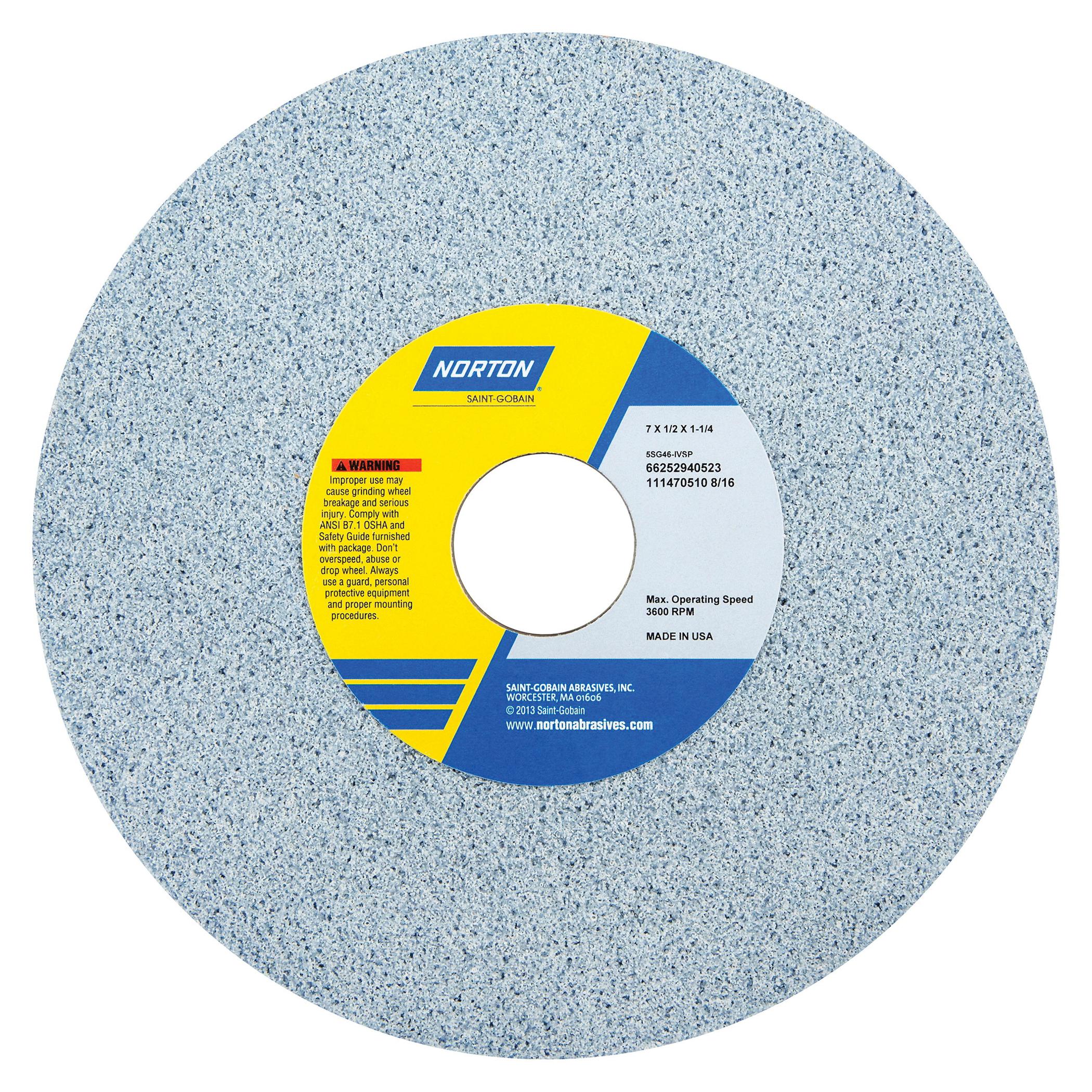 Norton® 66252940522 5SG Straight Toolroom Wheel, 7 in Dia x 1/2 in THK, 1-1/4 in Center Hole, 46 Grit, Ceramic Alumina/Friable Aluminum Oxide Abrasive