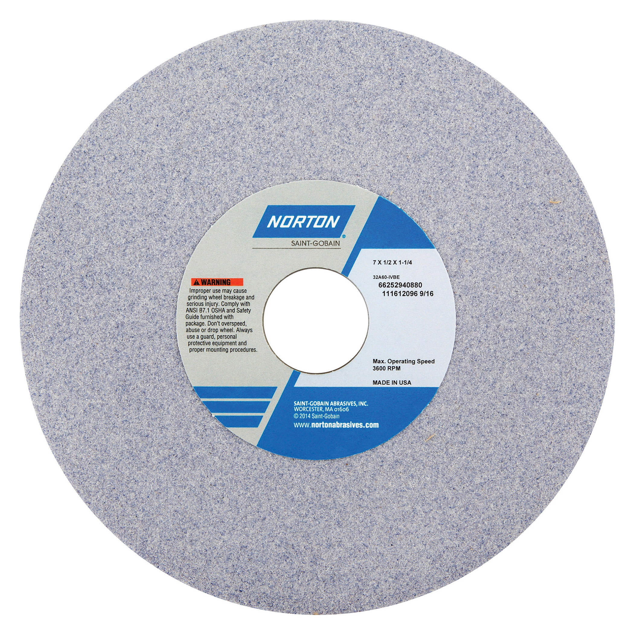 Norton® 66252940888 32A Straight Toolroom Wheel, 7 in Dia x 1/2 in THK, 1-1/4 in Center Hole, 60 Grit, Aluminum Oxide Abrasive