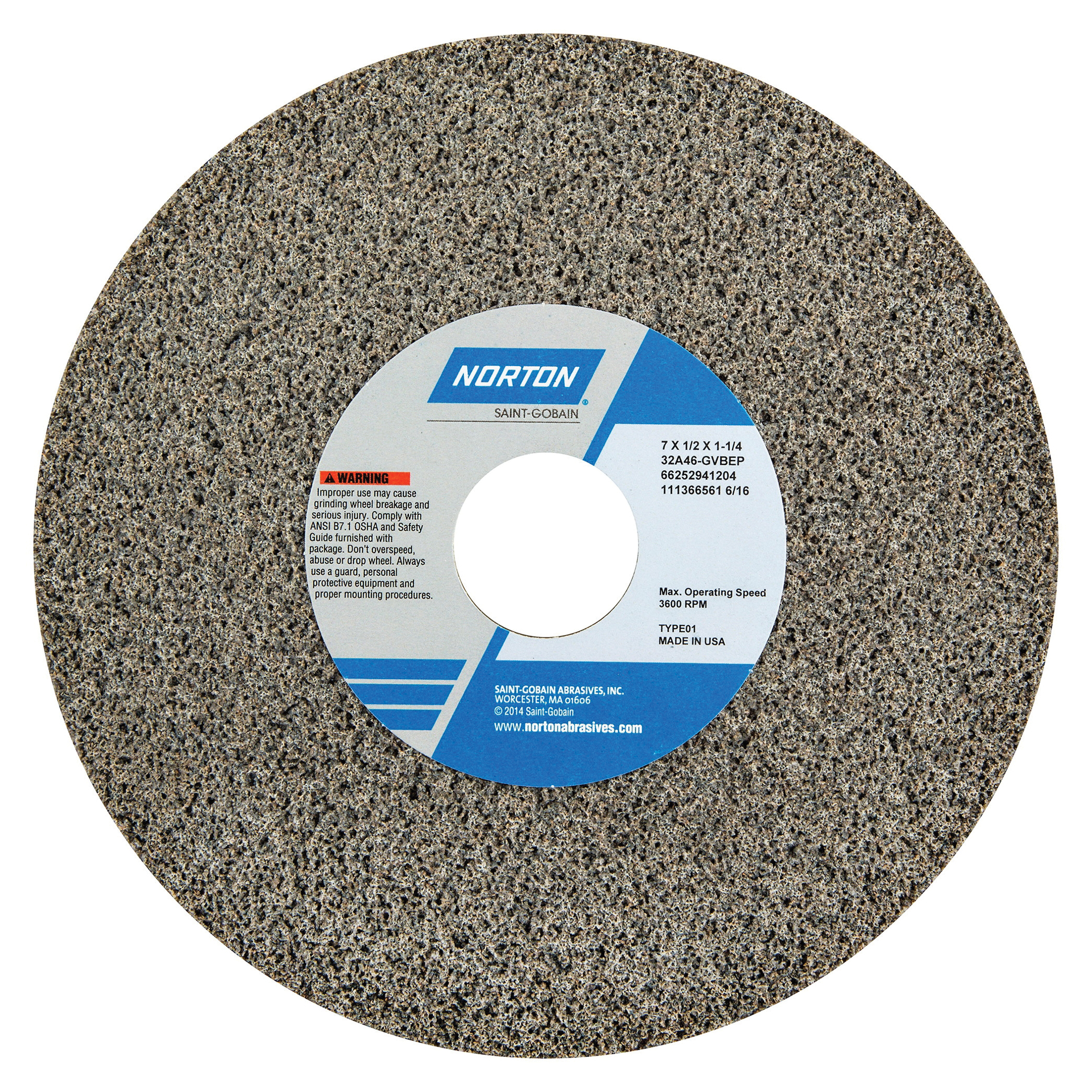 Norton® 66252941313 32A Straight Toolroom Wheel, 7 in Dia x 1/2 in THK, 1-1/4 in Center Hole, 60 Grit, Aluminum Oxide Abrasive