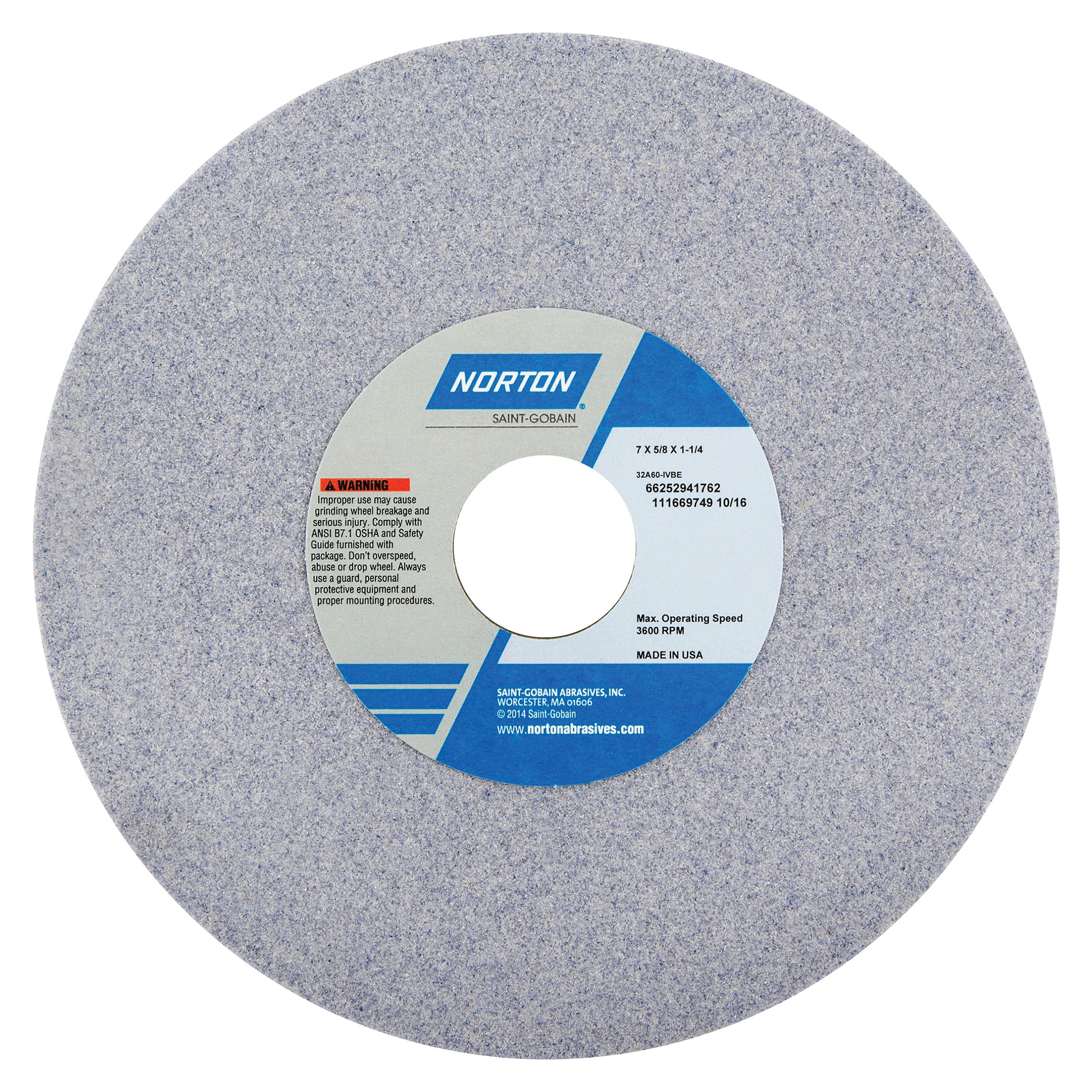 Norton® 66252941762 32A Straight Toolroom Wheel, 7 in Dia x 5/8 in THK, 1-1/4 in Center Hole, 60 Grit, Aluminum Oxide Abrasive