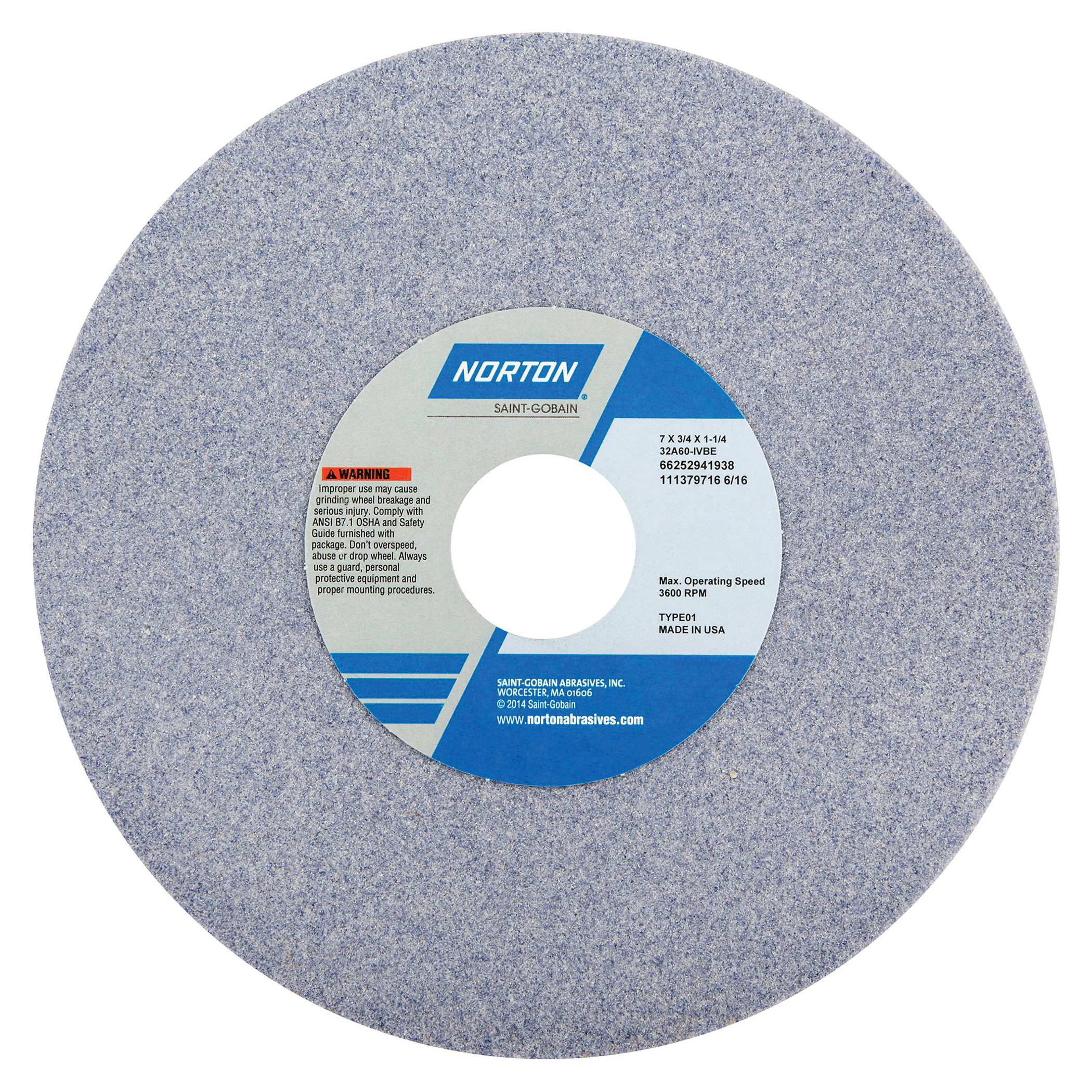 Norton® 66252941943 32A Straight Toolroom Wheel, 7 in Dia x 3/4 in THK, 1-1/4 in Center Hole, 60 Grit, Aluminum Oxide Abrasive