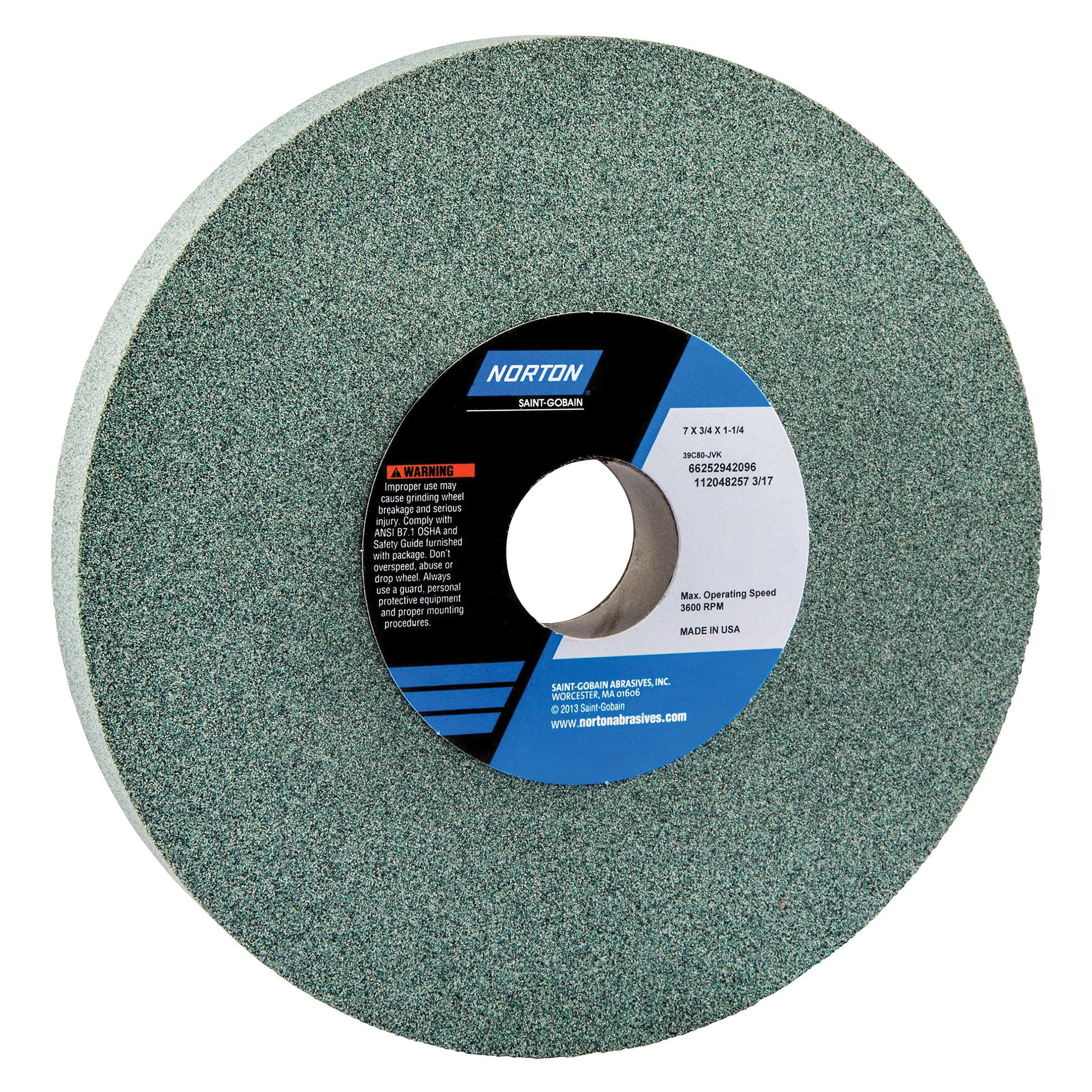 Norton® 66252942096 39C Straight Toolroom Wheel, 7 in Dia x 3/4 in THK, 1-1/4 in Center Hole, 80 Grit, Silicon Carbide Abrasive