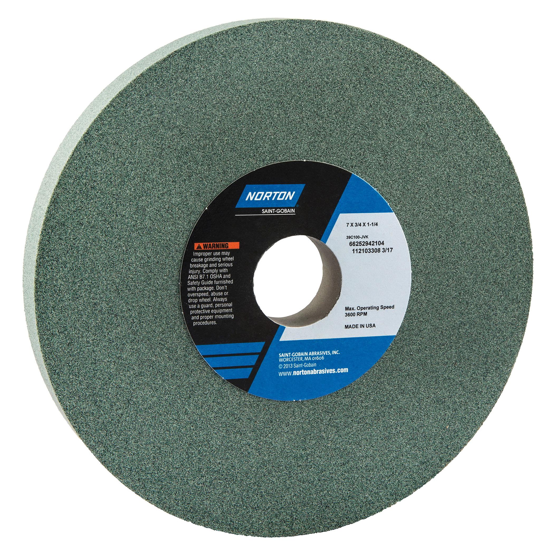Norton® 66252942104 39C Straight Toolroom Wheel, 7 in Dia x 3/4 in THK, 1-1/4 in Center Hole, 100 Grit, Silicon Carbide Abrasive