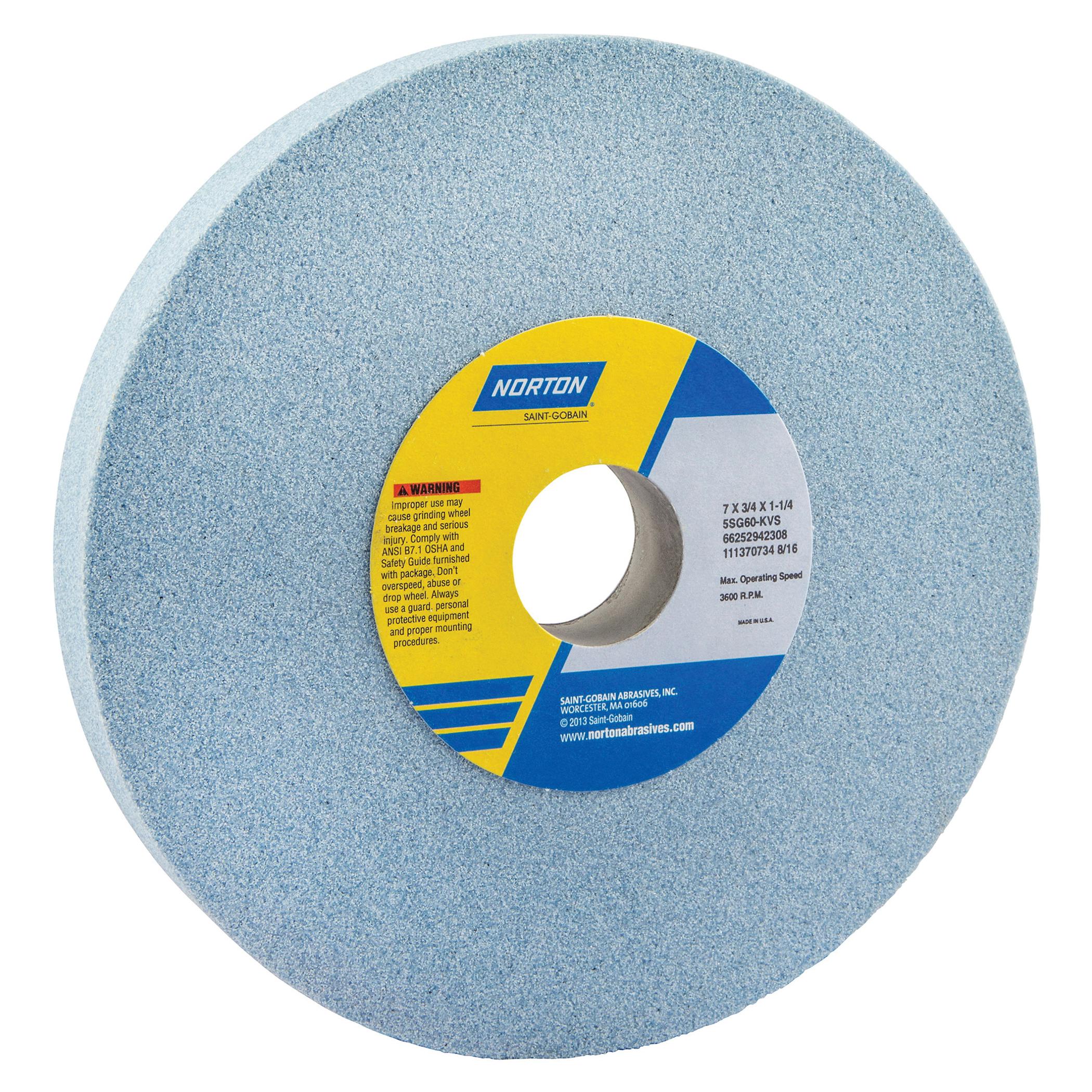 Norton® 66252942308 5SG Straight Toolroom Wheel, 7 in Dia x 3/4 in THK, 1-1/4 in Center Hole, 60 Grit, Ceramic Alumina/Friable Aluminum Oxide Abrasive
