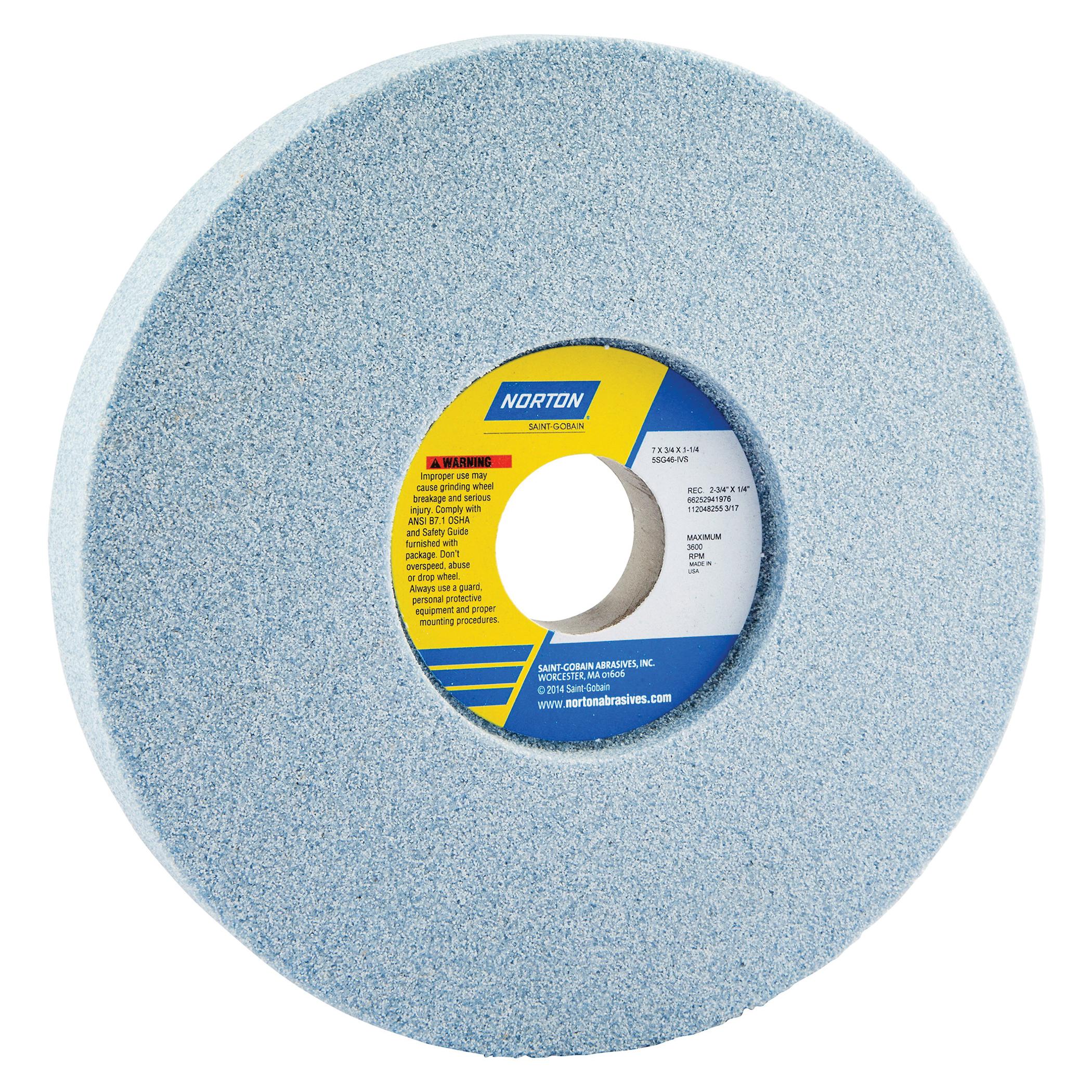 Norton® 66252942312 5SG 1-Side Recessed Toolroom Wheel, 7 in Dia x 3/4 in THK, 1-1/4 in Center Hole, 60 Grit, Ceramic Alumina/Friable Aluminum Oxide Abrasive