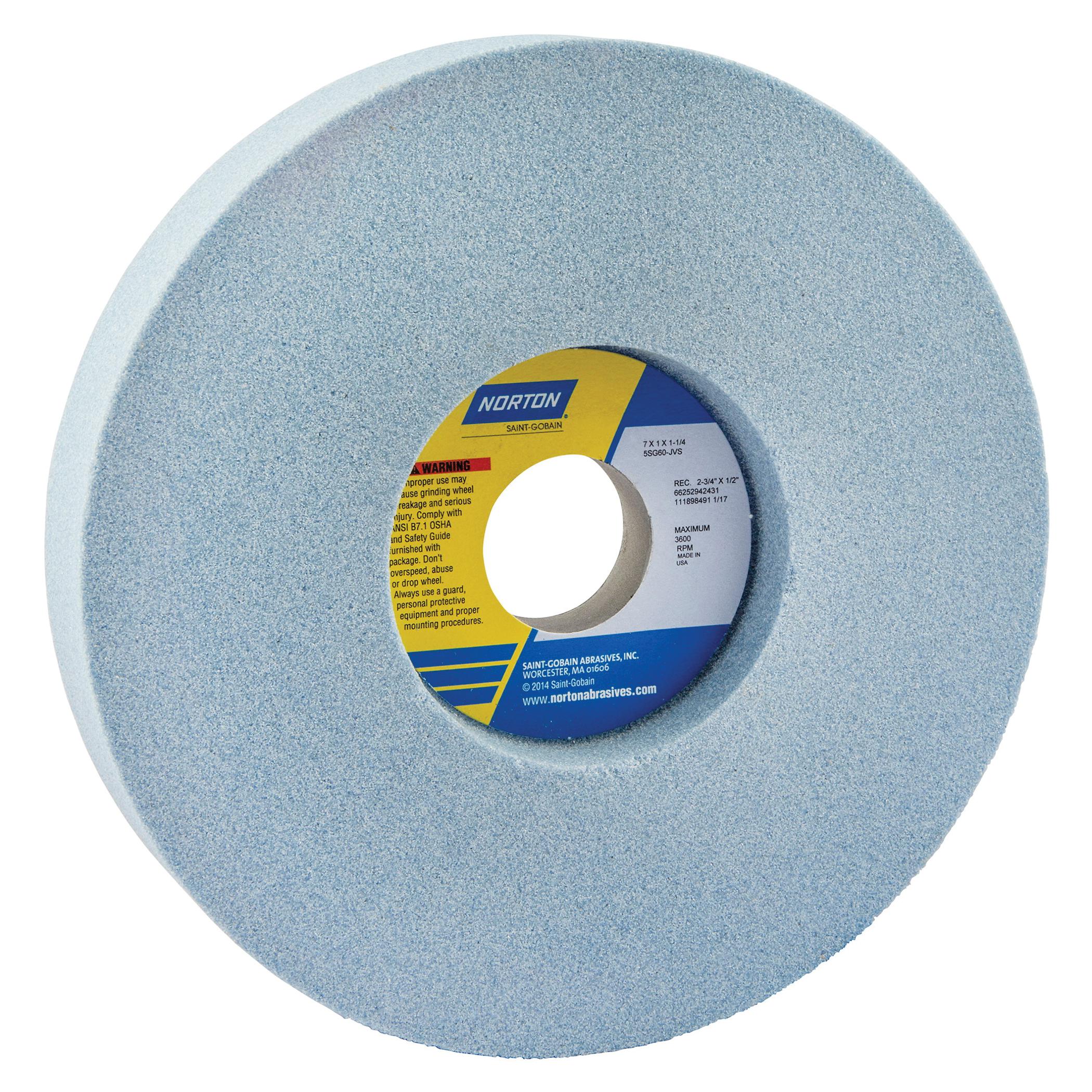 Norton® 66252942431 5SG 1-Side Recessed Toolroom Wheel, 7 in Dia x 1 in THK, 1-1/4 in Center Hole, 60 Grit, Ceramic Alumina/Friable Aluminum Oxide Abrasive
