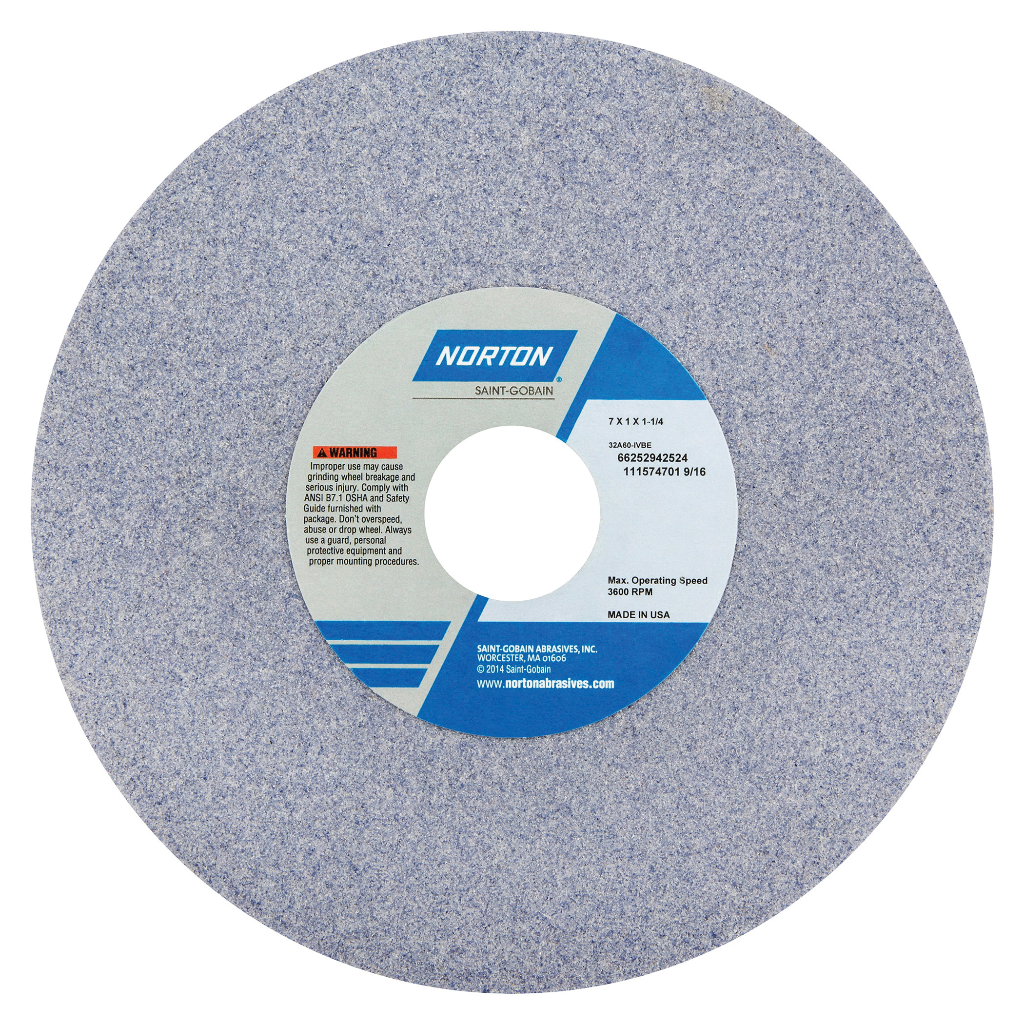 Norton® 66252942524 32A Straight Toolroom Wheel, 7 in Dia x 1 in THK, 1-1/4 in Center Hole, 60 Grit, Aluminum Oxide Abrasive