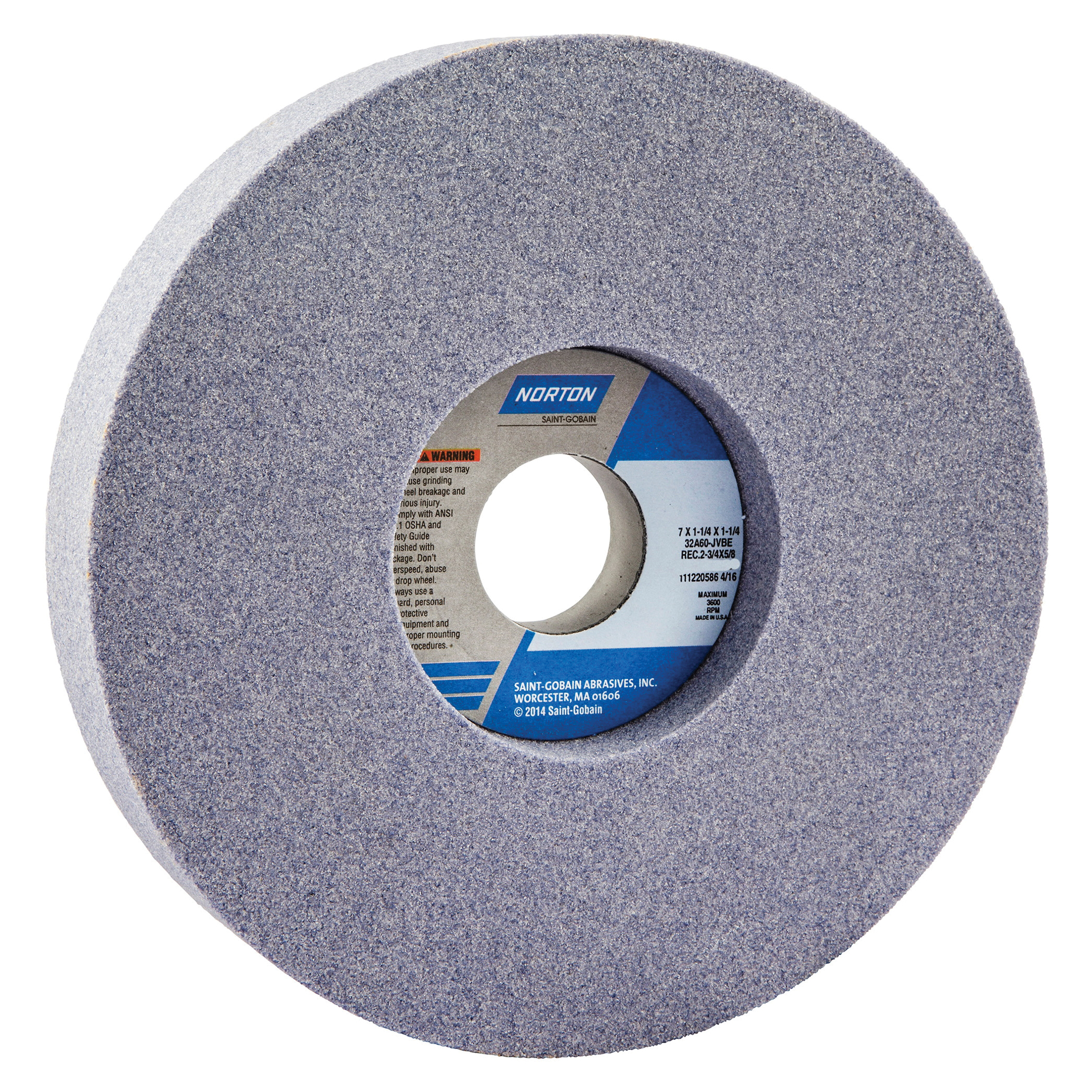 Norton® 66252942844 32A 1-Side Recessed Toolroom Wheel, 7 in Dia x 1-1/2 in THK, 1-1/4 in Center Hole, 60 Grit, Aluminum Oxide Abrasive