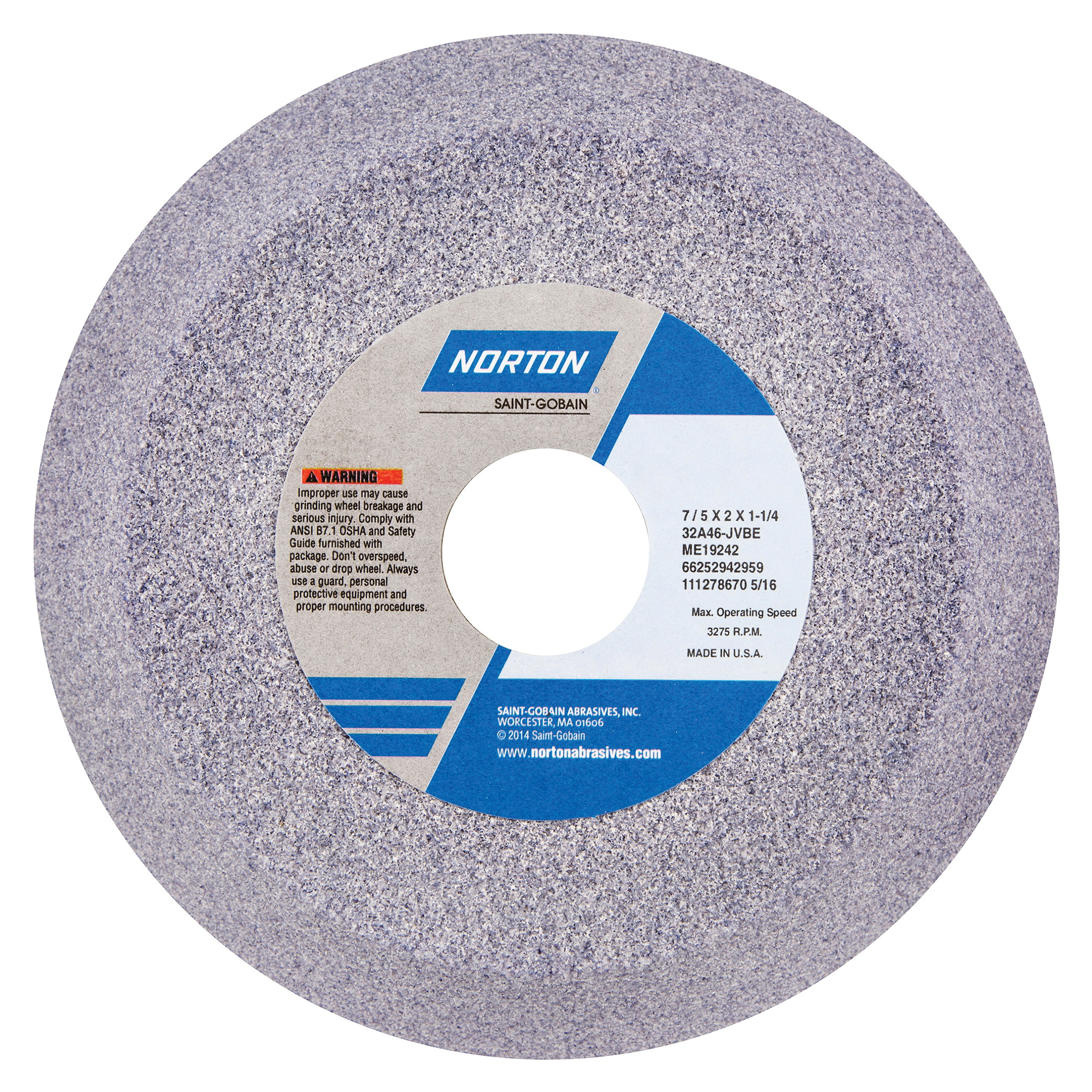 Norton® 66252942959 32A Toolroom Wheel, 7 in Dia x 2 in THK, 1-1/4 in Center Hole, 46 Grit, Aluminum Oxide Abrasive