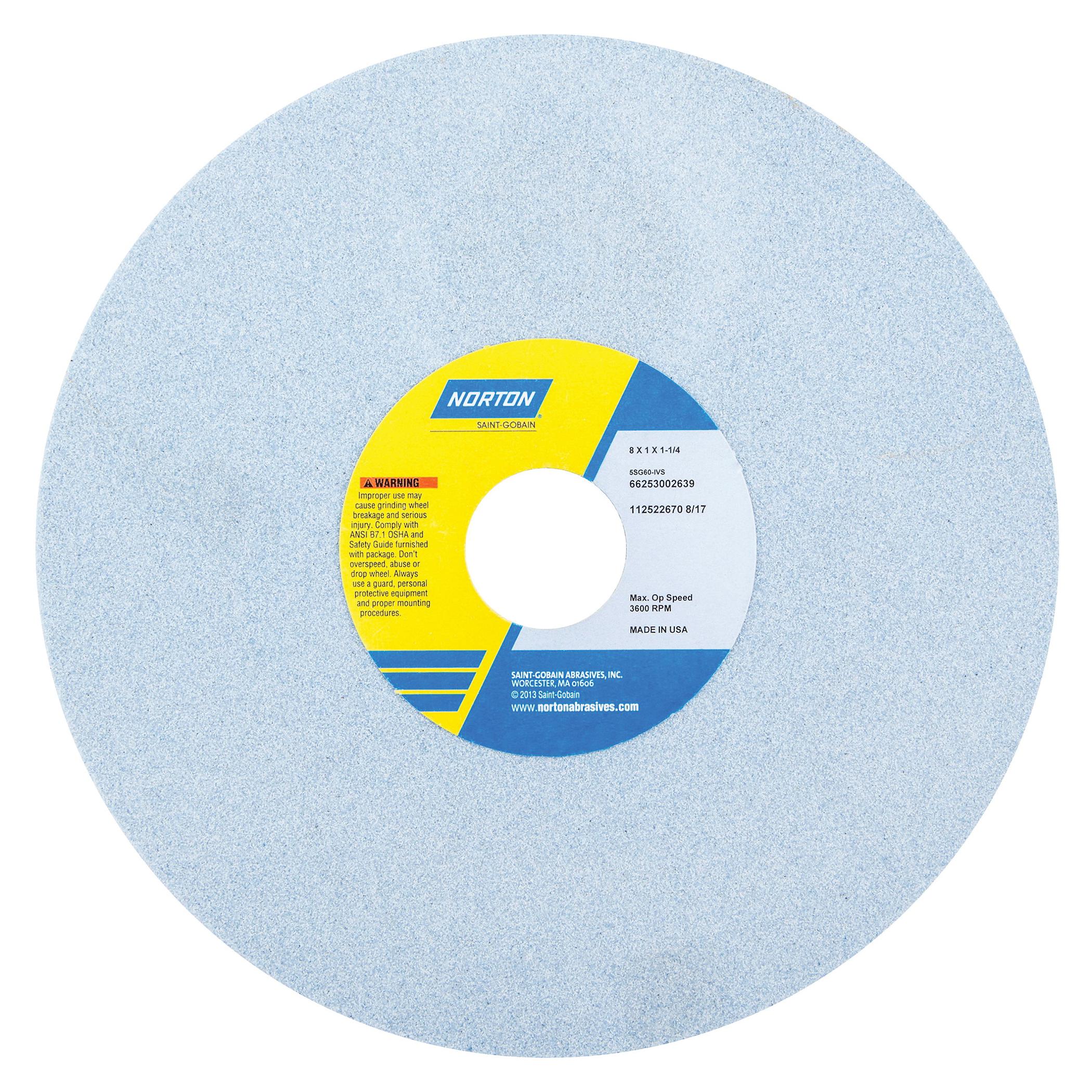 Norton® 66253002588 5SG Straight Toolroom Wheel, 8 in Dia x 1 in THK, 1-1/4 in Center Hole, 46 Grit, Ceramic Alumina/Friable Aluminum Oxide Abrasive
