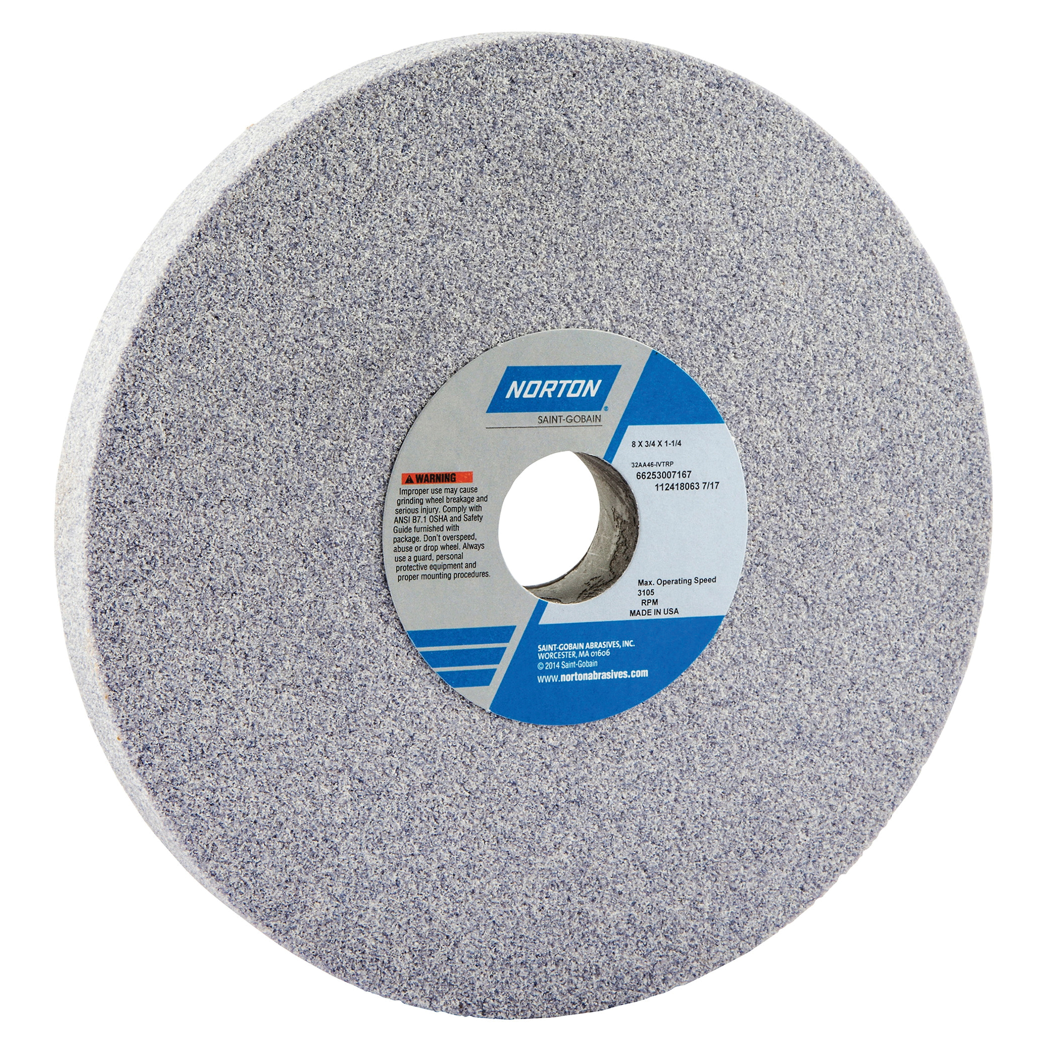 Norton® 66253007167 32AA Straight Toolroom Wheel, 8 in Dia x 3/4 in THK, 1-1/4 in Center Hole, 46 Grit, Aluminum Oxide Abrasive
