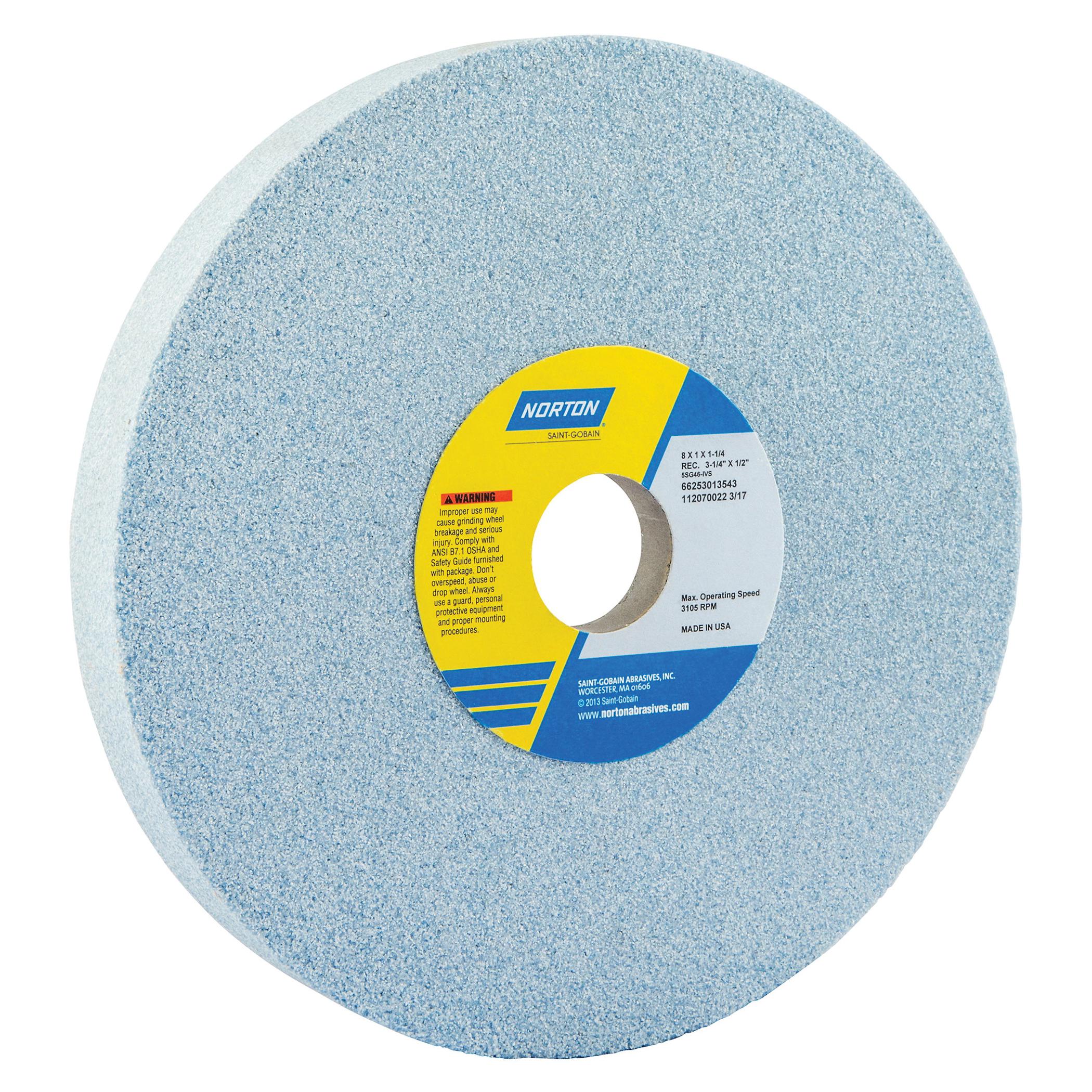 Norton® 66253013543 5SG 1-Side Recessed Toolroom Wheel, 8 in Dia x 1 in THK, 1-1/4 in Center Hole, 46 Grit, Ceramic Alumina/Friable Aluminum Oxide Abrasive