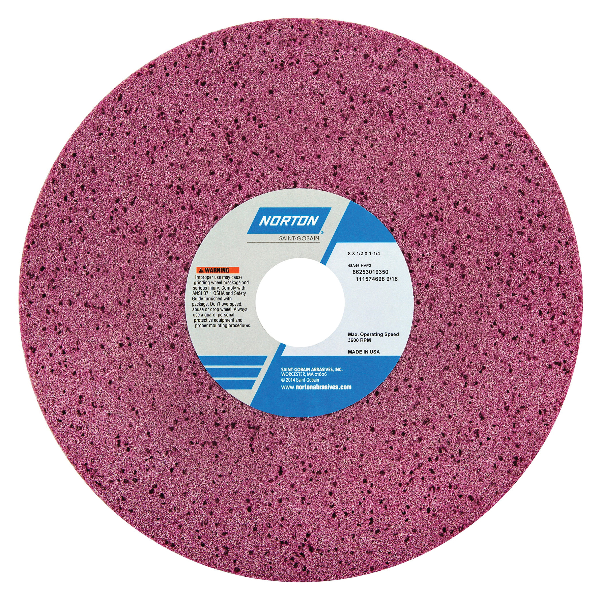 Norton® 66253019350 48A Straight Toolroom Wheel, 8 in Dia x 1/2 in THK, 1-1/4 in Center Hole, 46 Grit, Aluminum Oxide Abrasive