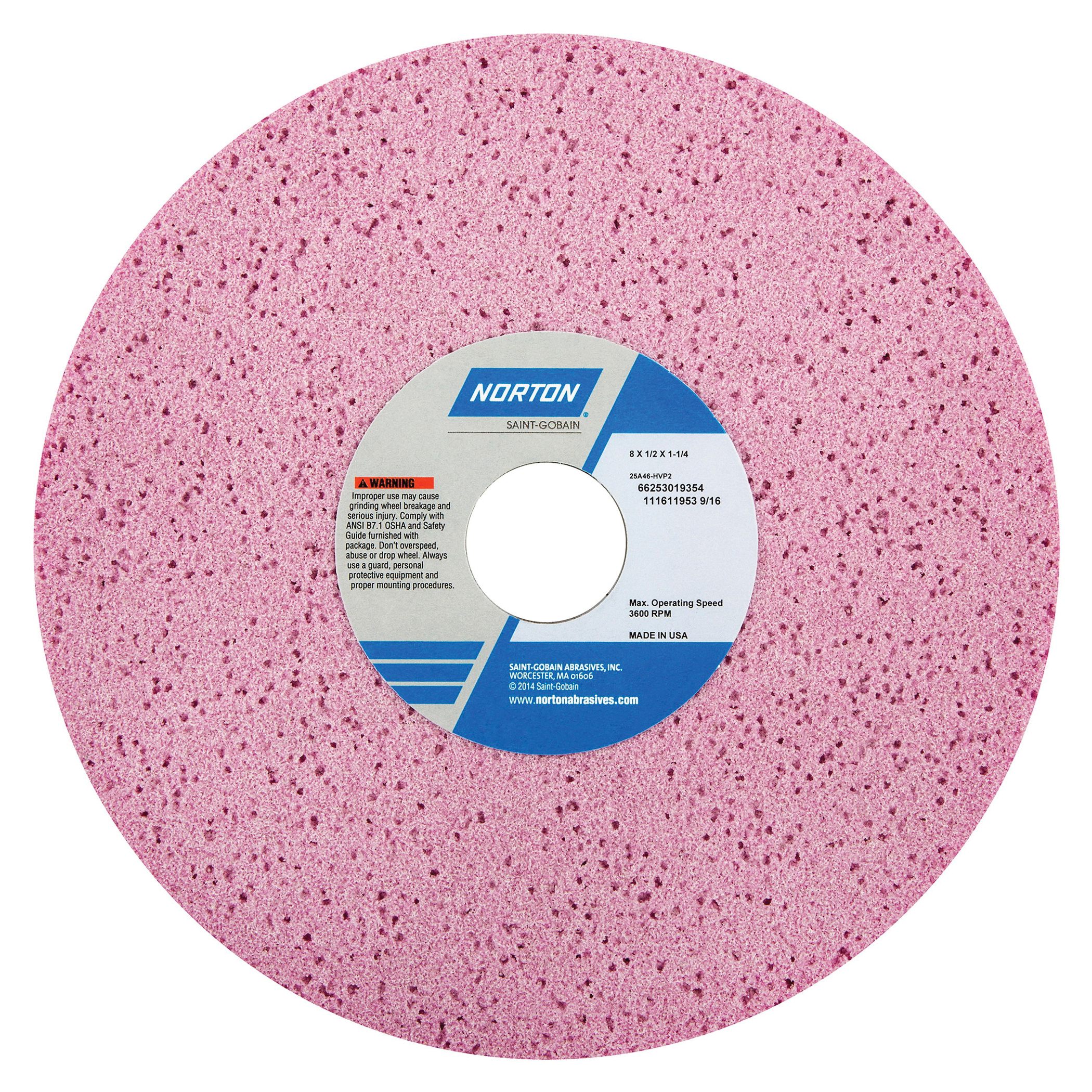 Norton® 66253019354 25A Straight Toolroom Wheel, 8 in Dia x 1/2 in THK, 1-1/4 in Center Hole, 46 Grit, Aluminum Oxide Abrasive