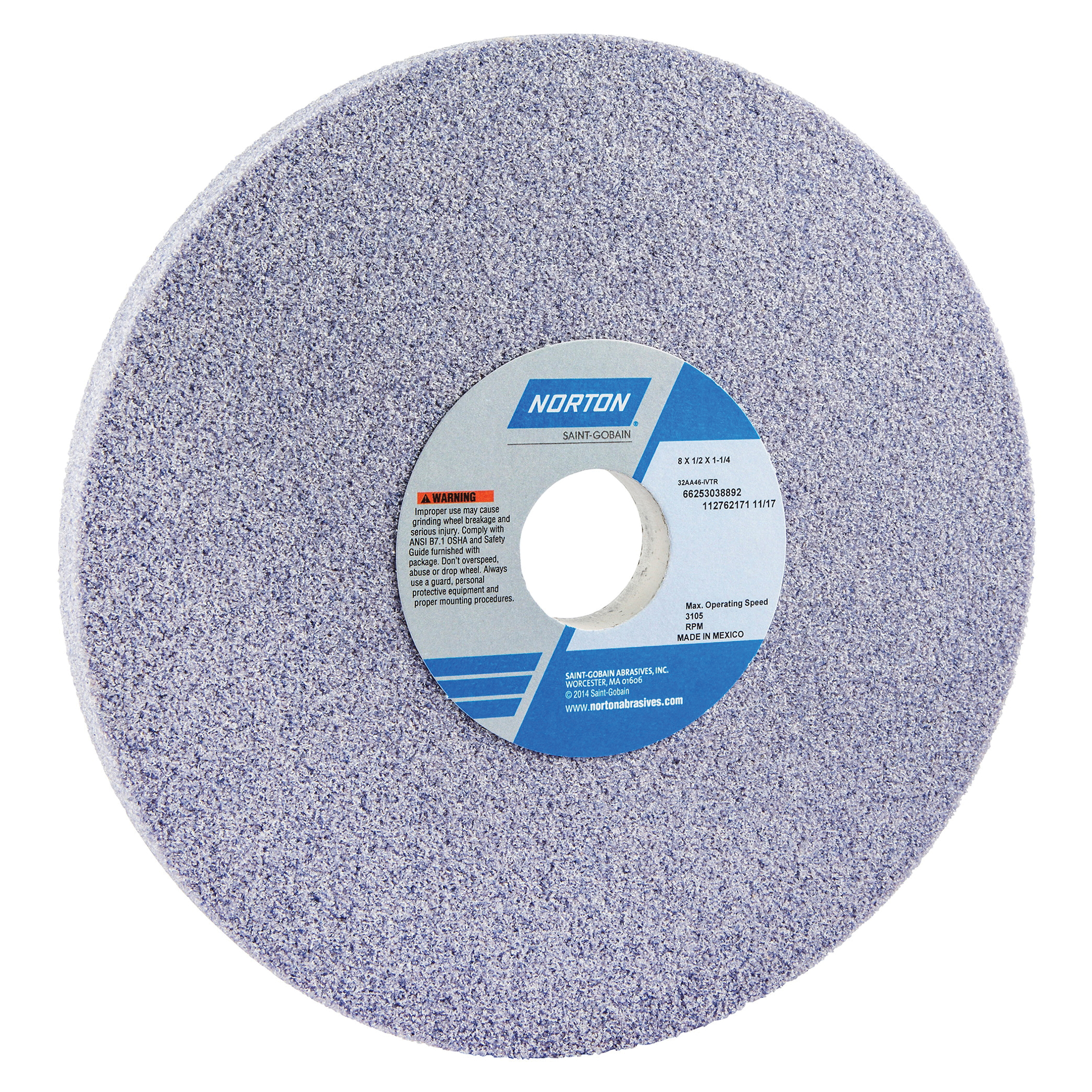 Norton® 66253038892 32AA Straight Toolroom Wheel, 8 in Dia x 1/2 in THK, 1-1/4 in Center Hole, 46 Grit, Aluminum Oxide Abrasive
