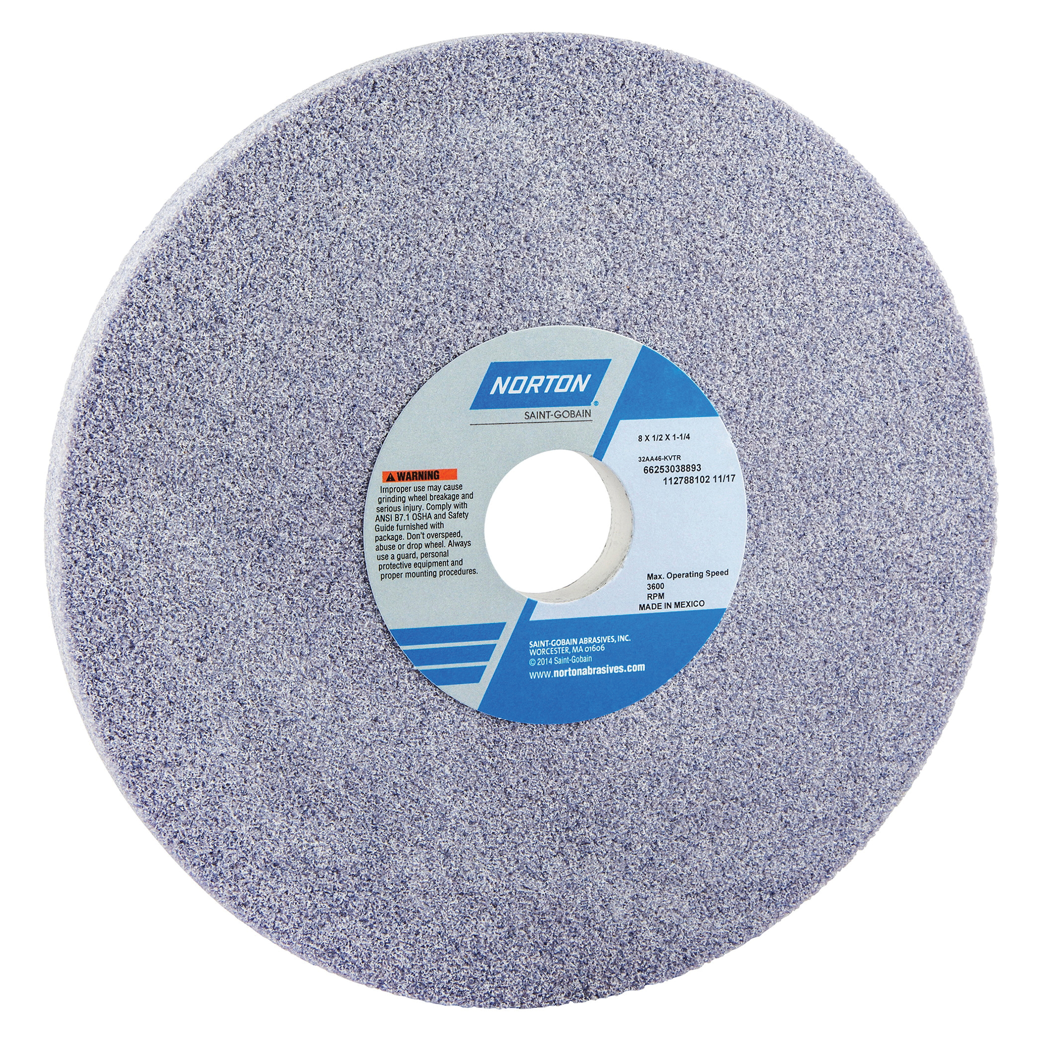 Norton® 66253038893 32AA Straight Toolroom Wheel, 8 in Dia x 1/2 in THK, 1-1/4 in Center Hole, 46 Grit, Aluminum Oxide Abrasive