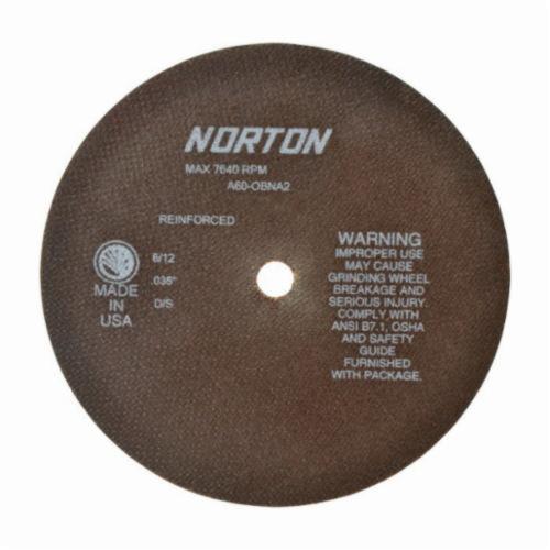 Norton® 66253042979 OBNA2 Toolroom Cut-Off Wheel, 8 in Dia x 0.035 in THK, 5/8 in Center Hole, 60 Grit, Aluminum Oxide Abrasive