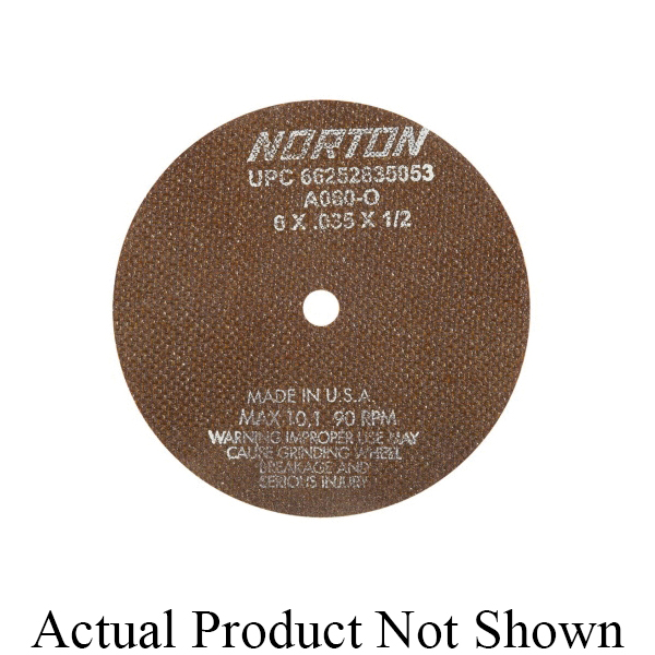 Norton® 66253042980 OBNA2 Toolroom Cut-Off Wheel, 8 in Dia x 0.035 in THK, 1-1/4 in Center Hole, 60 Grit, Aluminum Oxide Abrasive