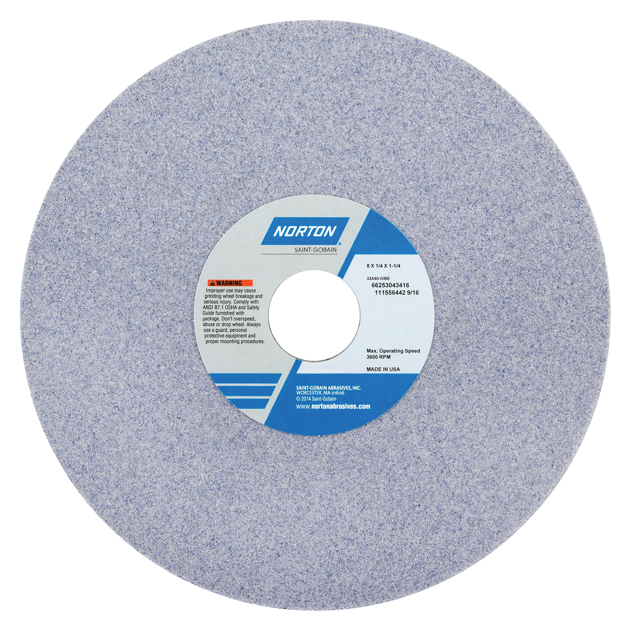 Norton® 66253043416 32A Straight Toolroom Wheel, 8 in Dia x 1/4 in THK, 1-1/4 in Center Hole, 60 Grit, Aluminum Oxide Abrasive