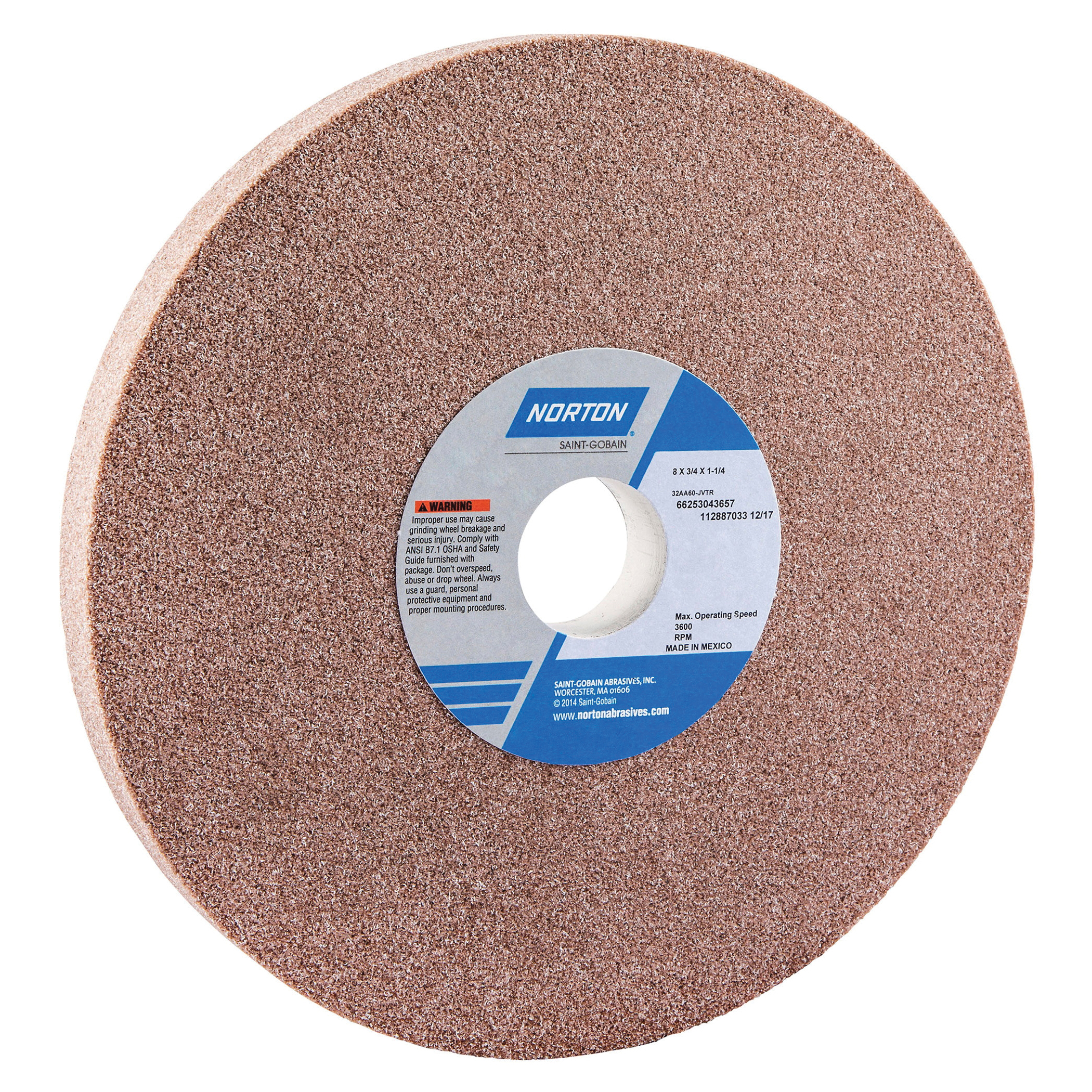 Norton® 66253043657 32AA Straight Toolroom Wheel, 8 in Dia x 3/4 in THK, 1-1/4 in Center Hole, 60 Grit, Aluminum Oxide Abrasive