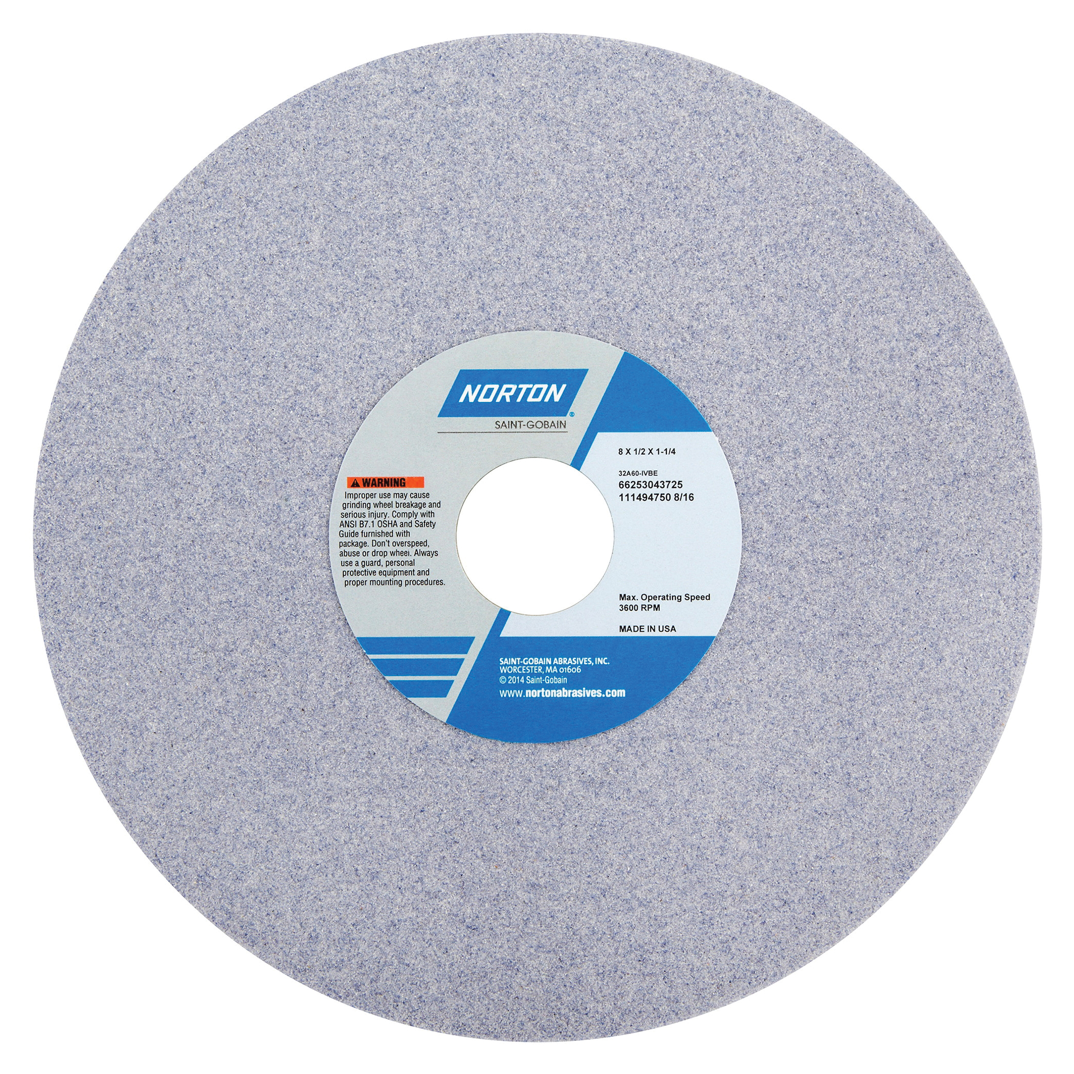 Norton® 66253043716 32A Straight Toolroom Wheel, 8 in Dia x 1/2 in THK, 1-1/4 in Center Hole, 46 Grit, Aluminum Oxide Abrasive