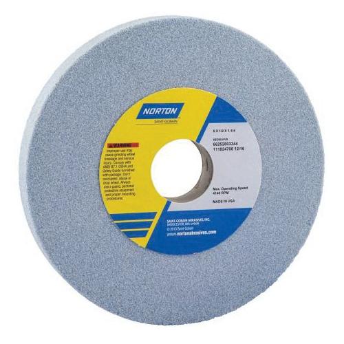 Norton® 66253043915 5SG Straight Toolroom Wheel, 8 in Dia x 1/2 in THK, 1-1/4 in Center Hole, 46 Grit, Ceramic Alumina/Friable Aluminum Oxide Abrasive