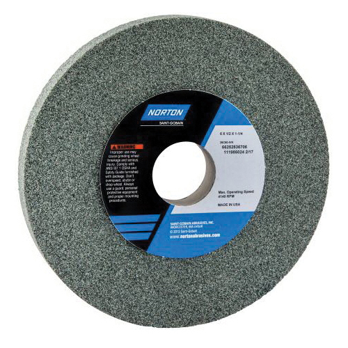 Norton® 66253044013 39C Straight Toolroom Wheel, 8 in Dia x 1/2 in THK, 1-1/4 in Center Hole, 60 Grit, Silicon Carbide Abrasive