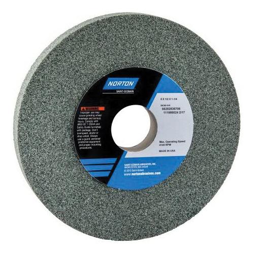 Norton® 66253044017 39C Straight Toolroom Wheel, 8 in Dia x 1/2 in THK, 1-1/4 in Center Hole, 100 Grit, Silicon Carbide Abrasive